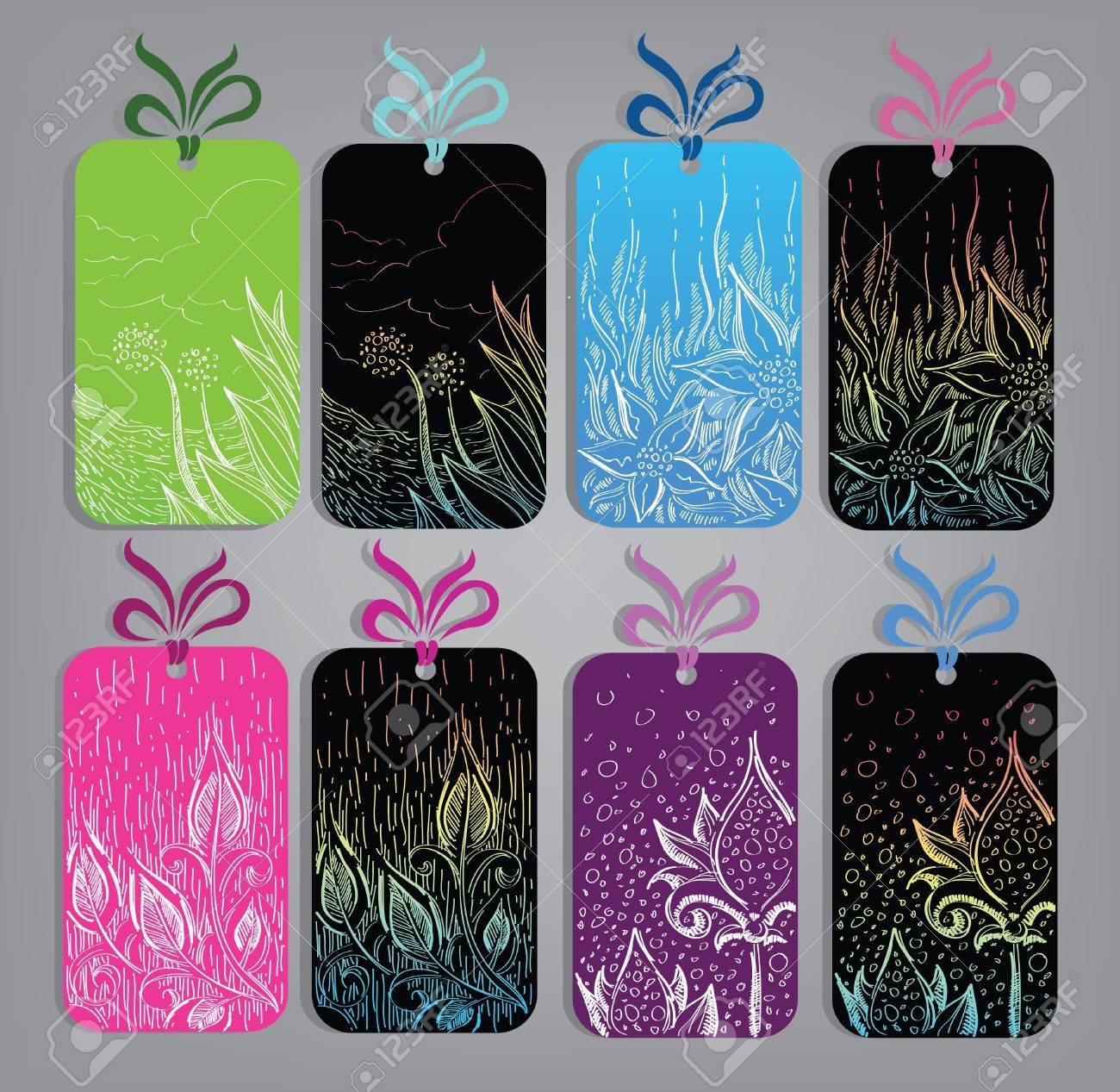 collection of artistic hang tags with flowers leaves and nature images Stock Vector - 12490142