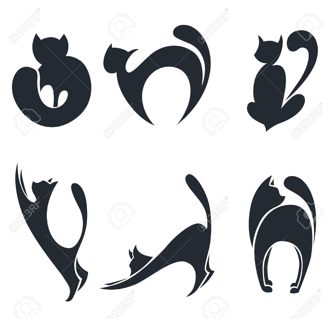 collection of stylized cats silhouettes Stock Vector - 13283126