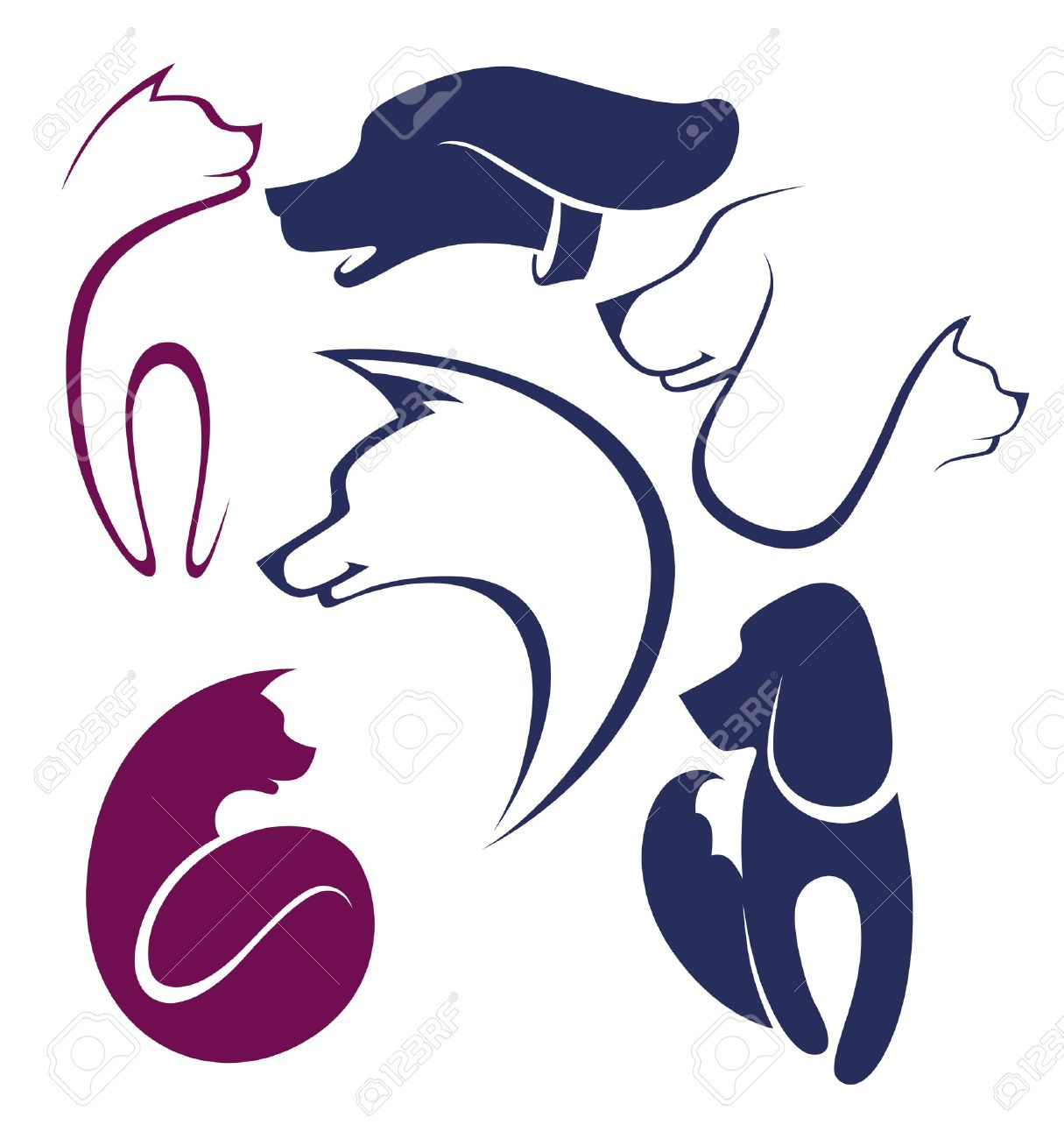 cats and dogs,  collection of pets symbols Stock Vector - 15233635