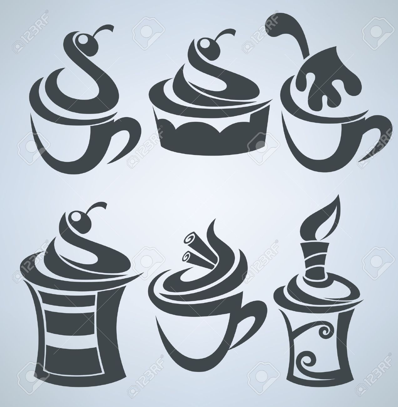 Vector collection of cakes and sweet drinks Stock Vector - 16262490