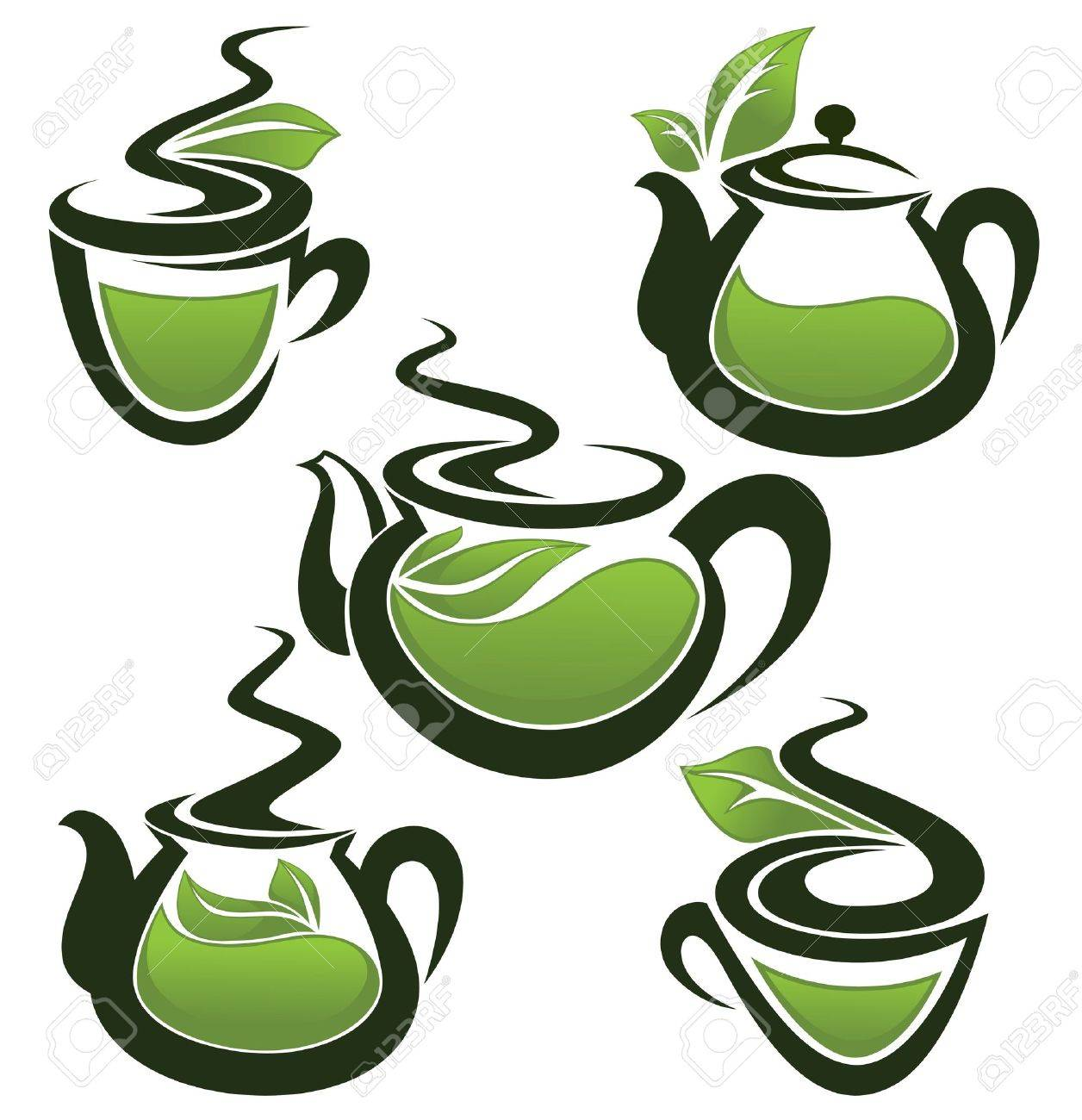 green tea, vector collection of forms, symbols and images Stock Vector - 16954291
