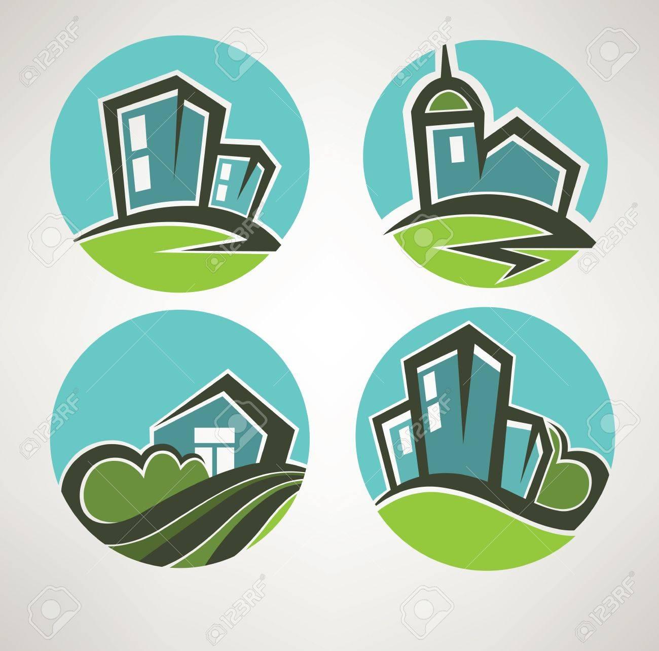 little village, building and landscape symbols Stock Vector - 17168264