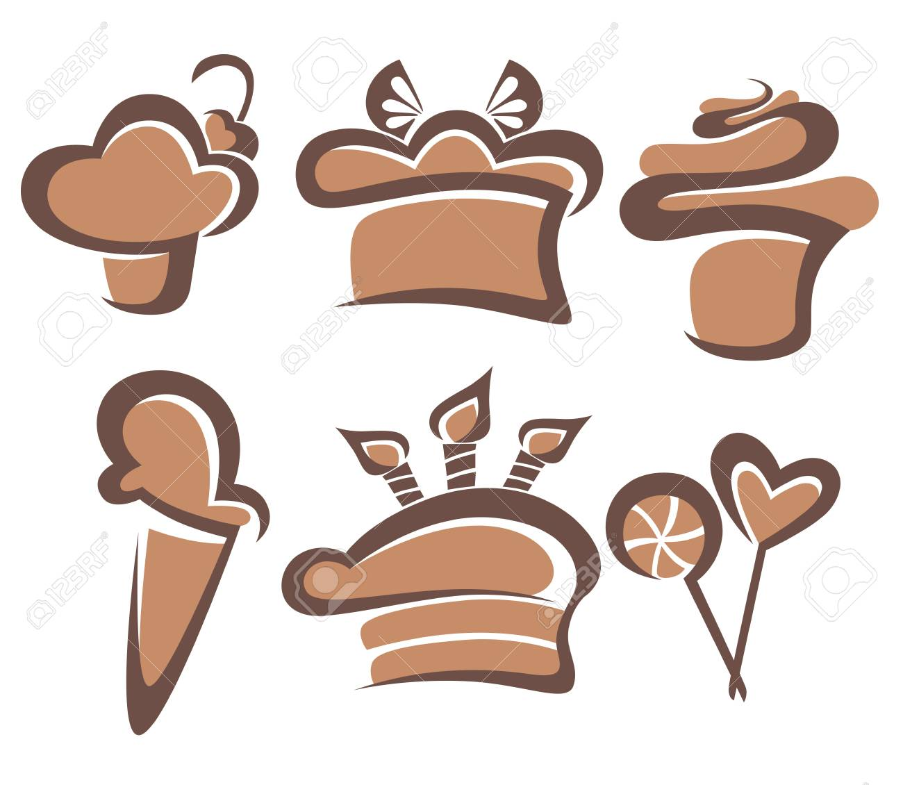 vector collection of cakes and sweets Stock Vector - 19157971