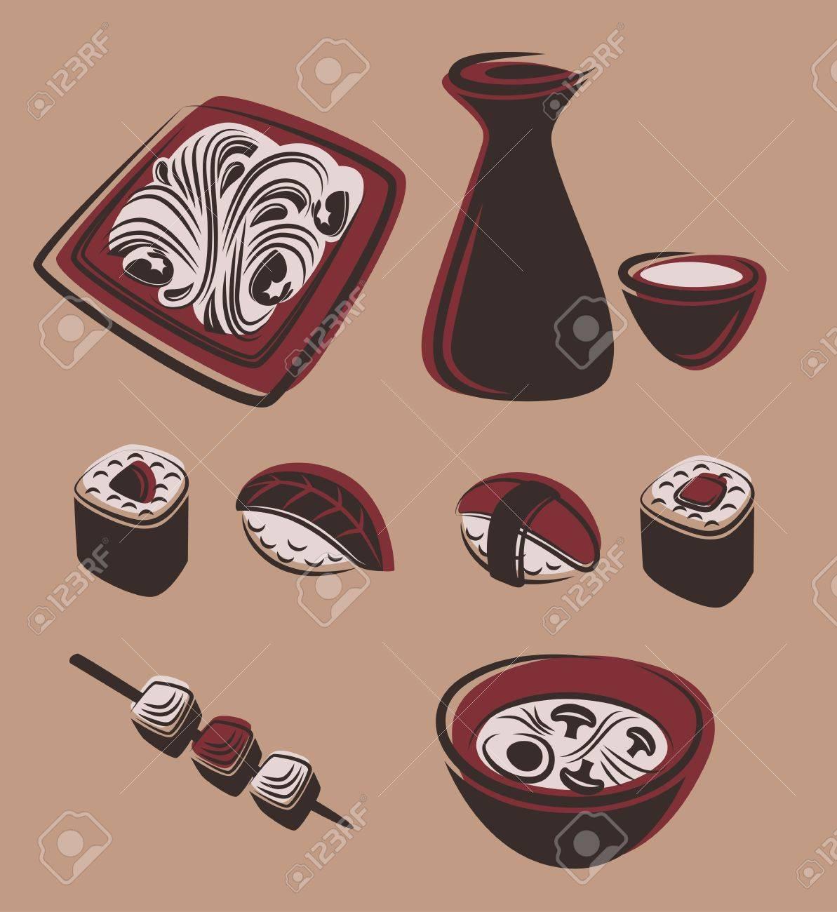 food and dish symbols Stock Vector - 19236739