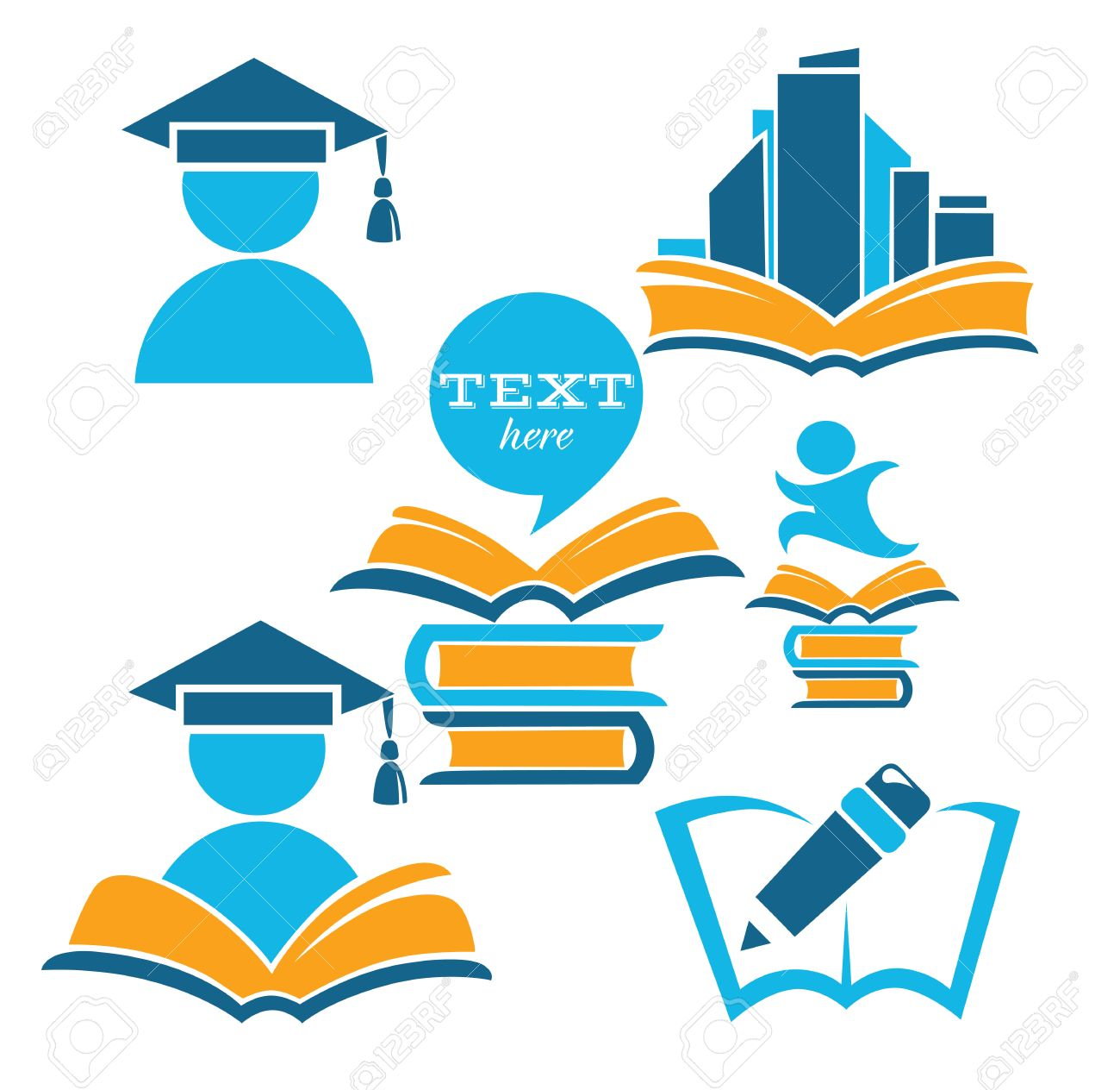 vector collection of reading symbols, books, studying and education Stock Vector - 22971895