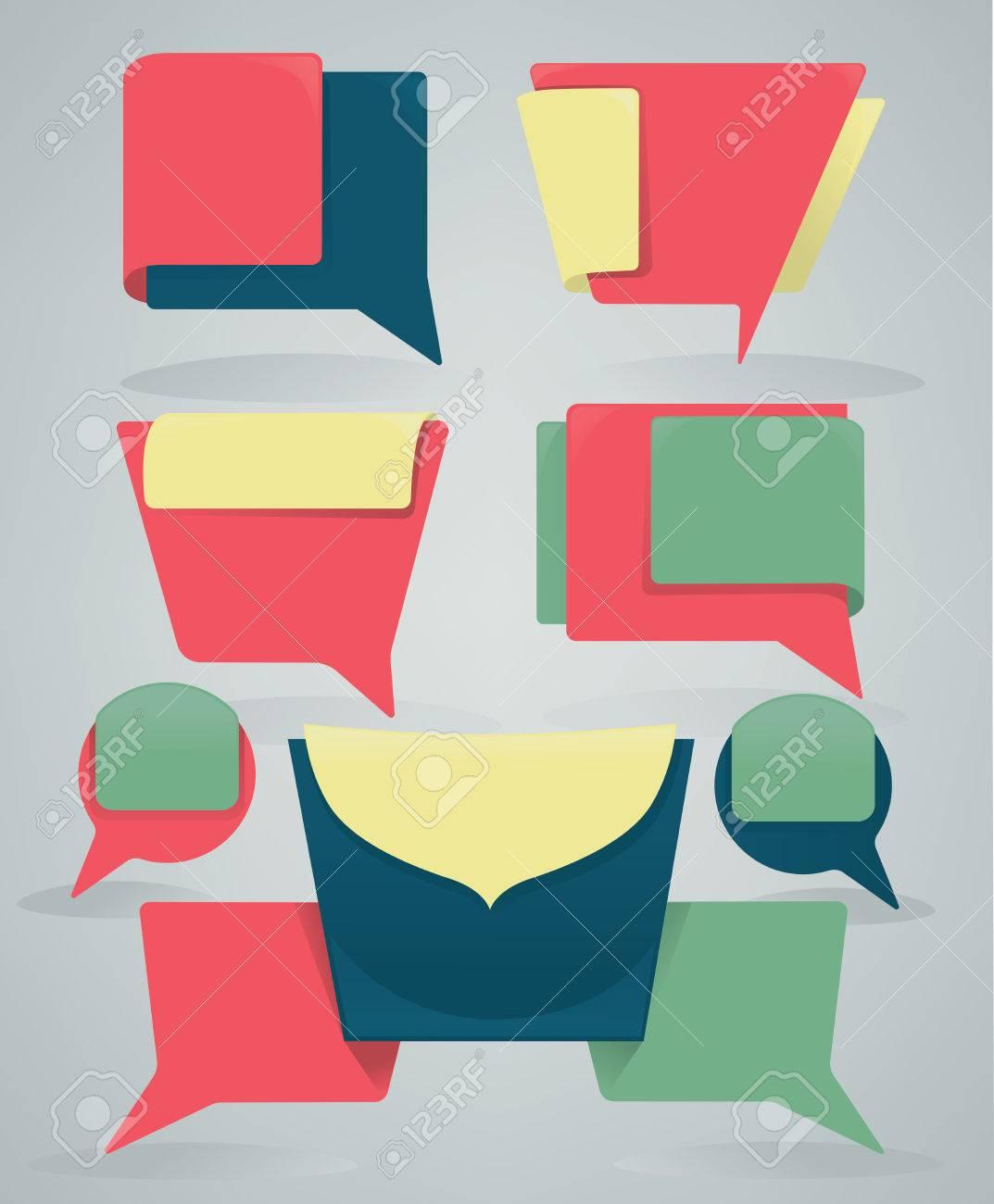 Colección De Diferentes Coloridos Banners Web Y Cuadros De Texto ...
