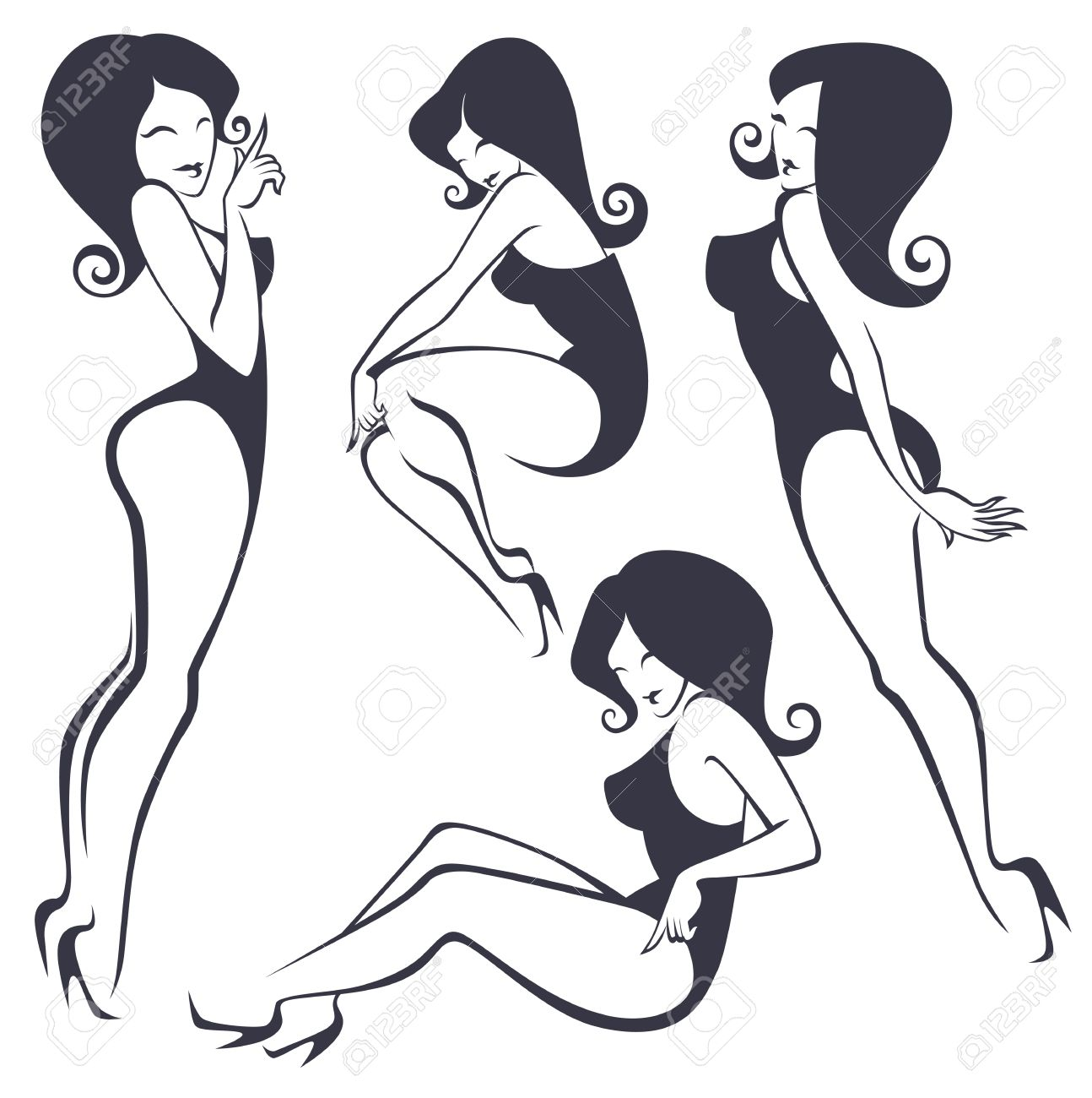 collection of stylized pinup girls in different poses royalty free