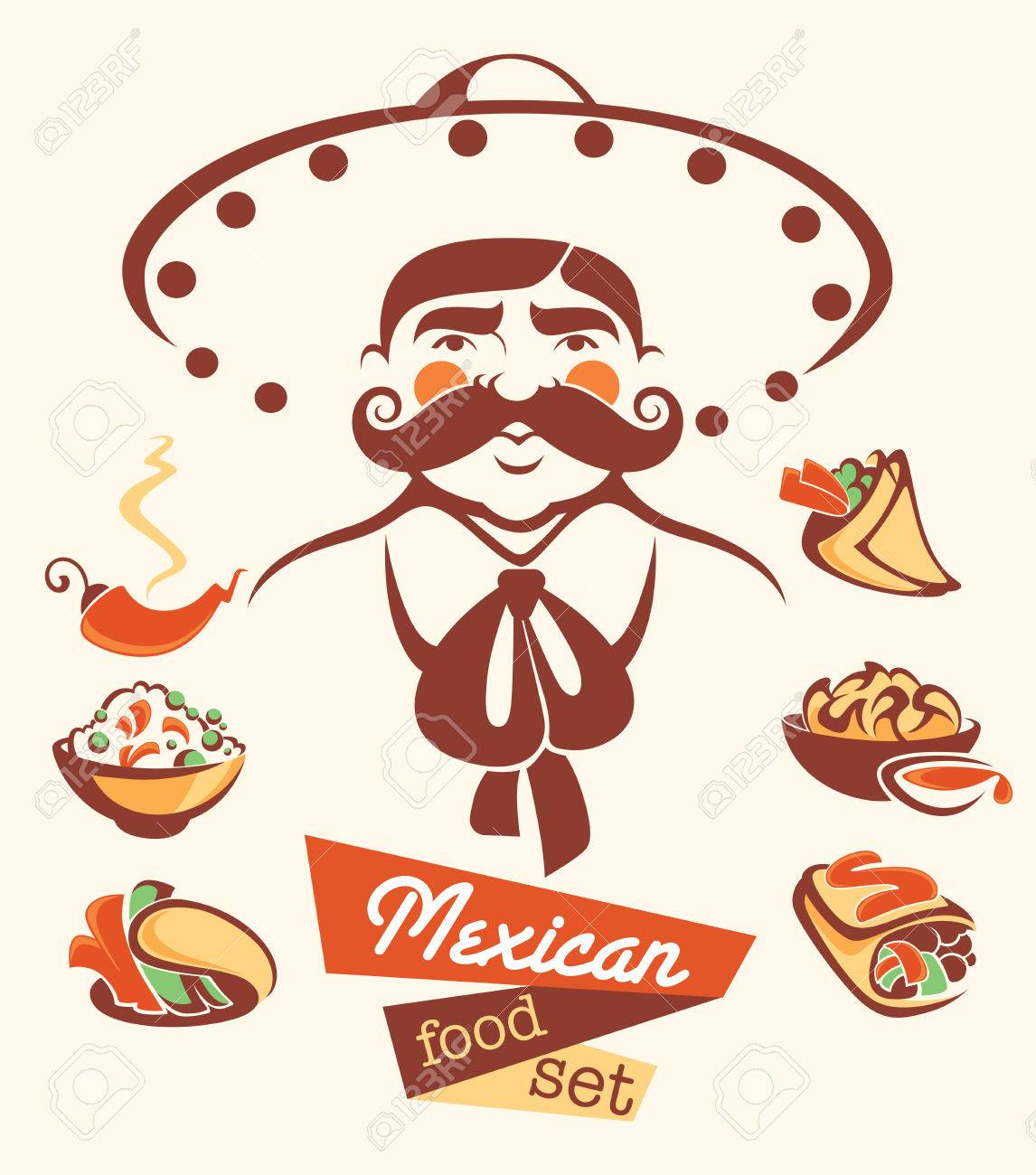 vector collection of traditional mexican fast food and man image Foto de archivo - 39123362