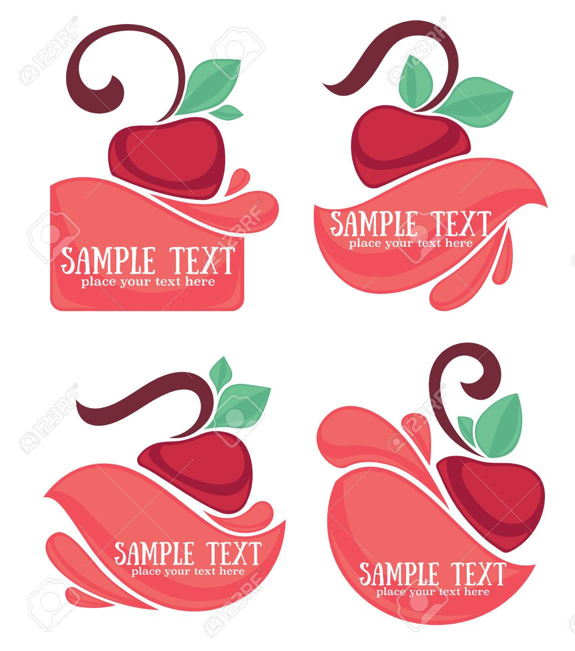 ector collection of juice stickers and cherry symbols for your