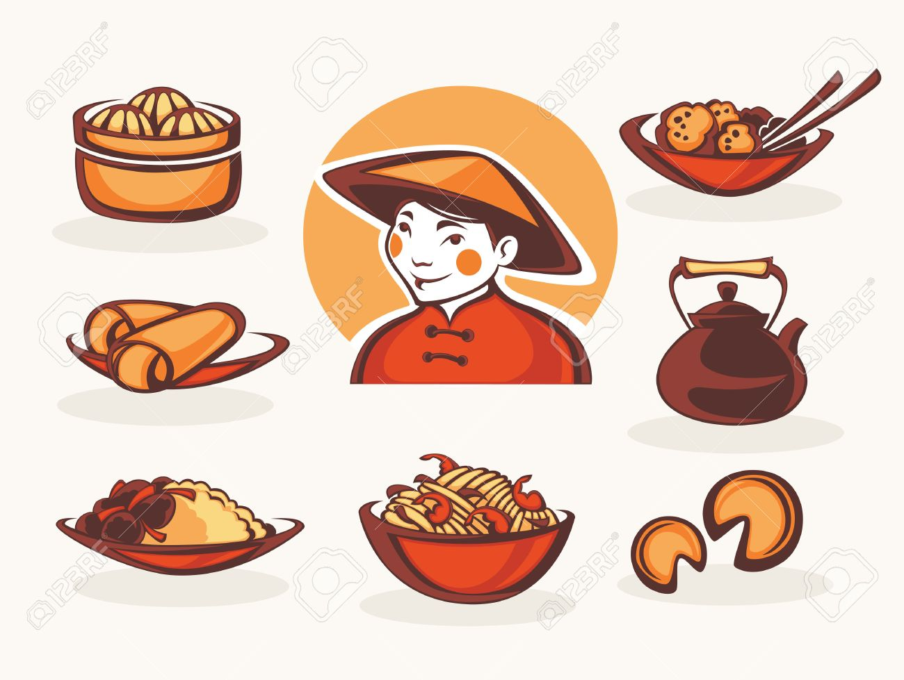 vector collection of chinese food symbols royalty free cliparts rh 123rf com eating chinese food clipart chinese food clipart black and white