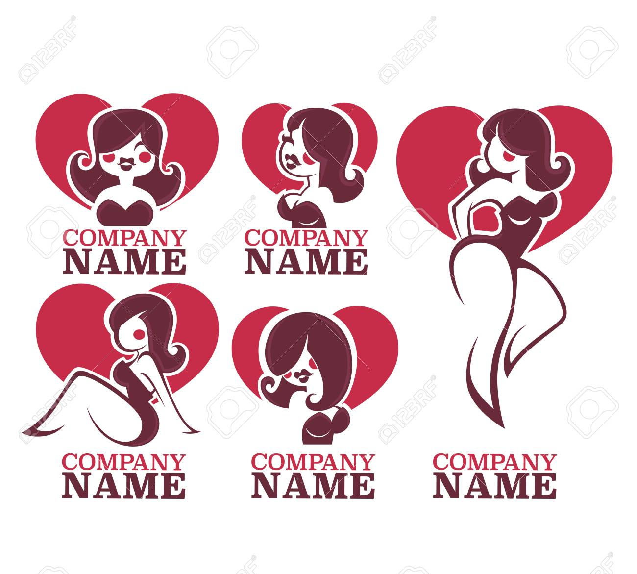 vector collection of pinup girls illustration and logo royalty free