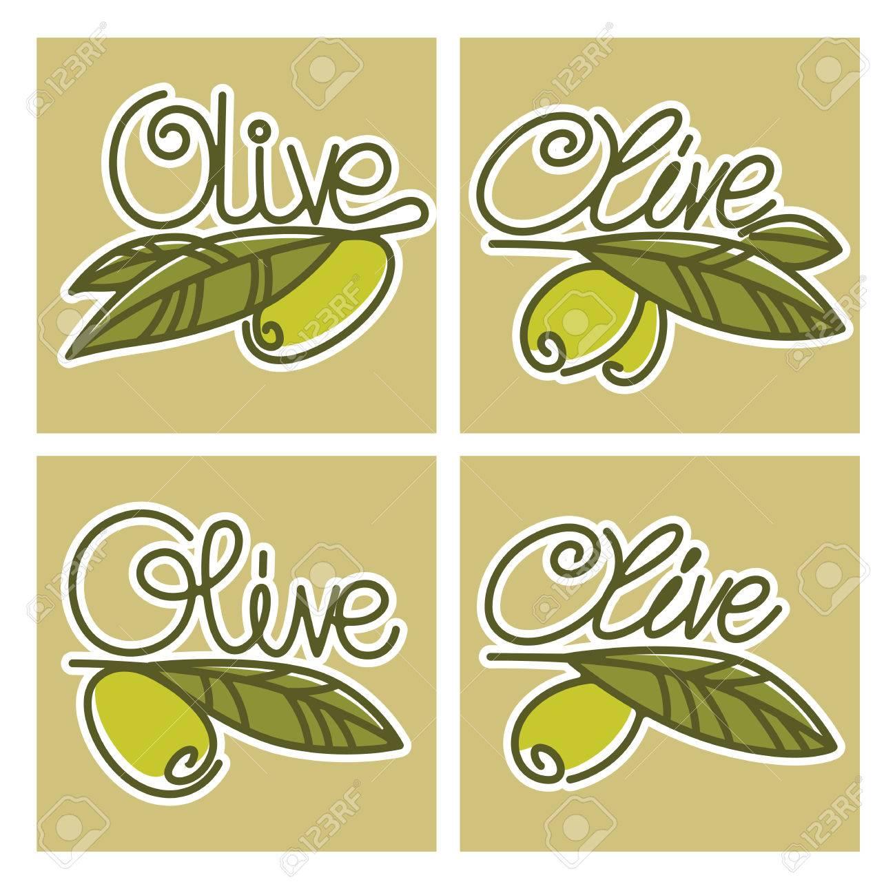Olive Oil Labels, Emblems And Logo, Handdrawn Letteering In Line ...