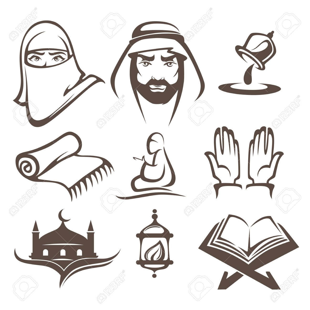 Islam Icons Symbols And Logo Vector Collectionislam Icons Symbols