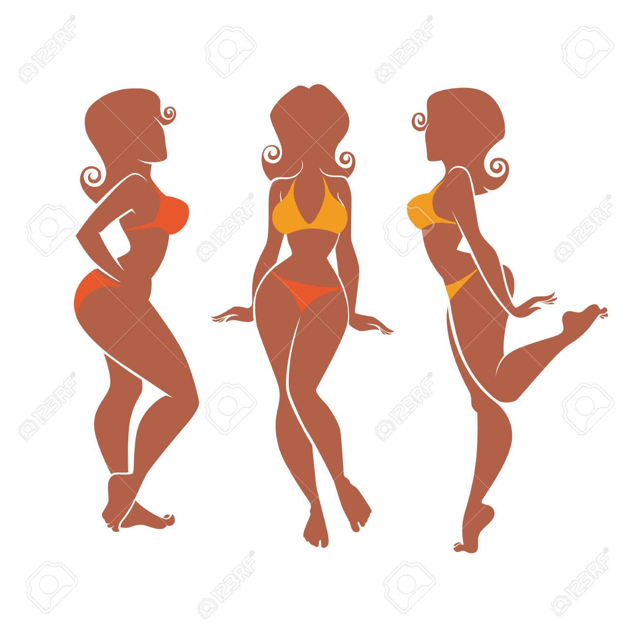 silhouettes of summer plus size pinup girls royalty free cliparts