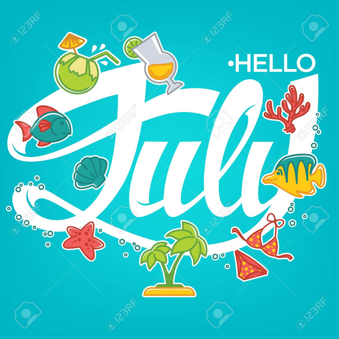Hello July, Vector Template For Your Summer Banner, Card And Flyer Stock  Vector