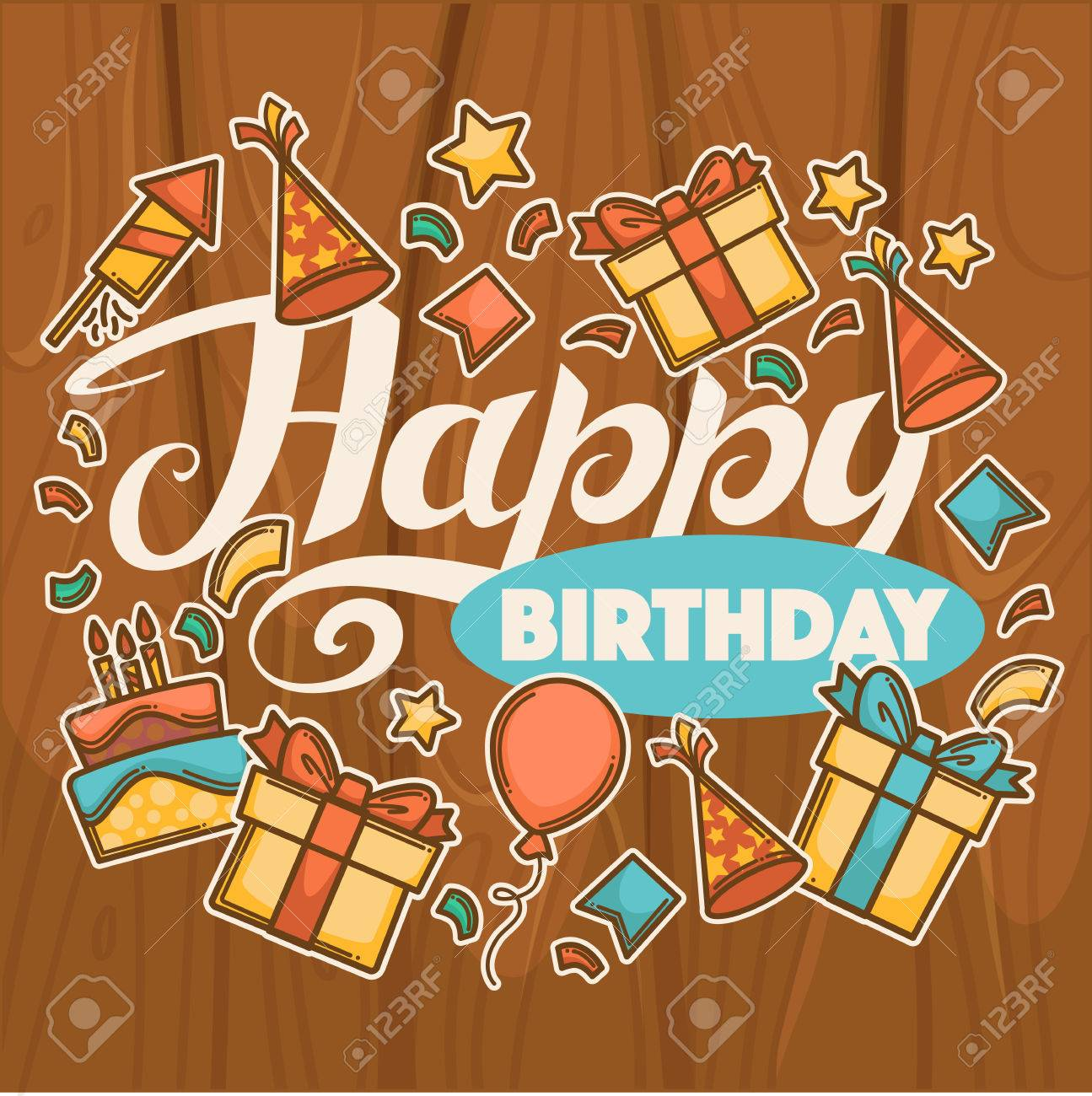 Happy Birthday Vector Greeting Card Template With Happy Lettering