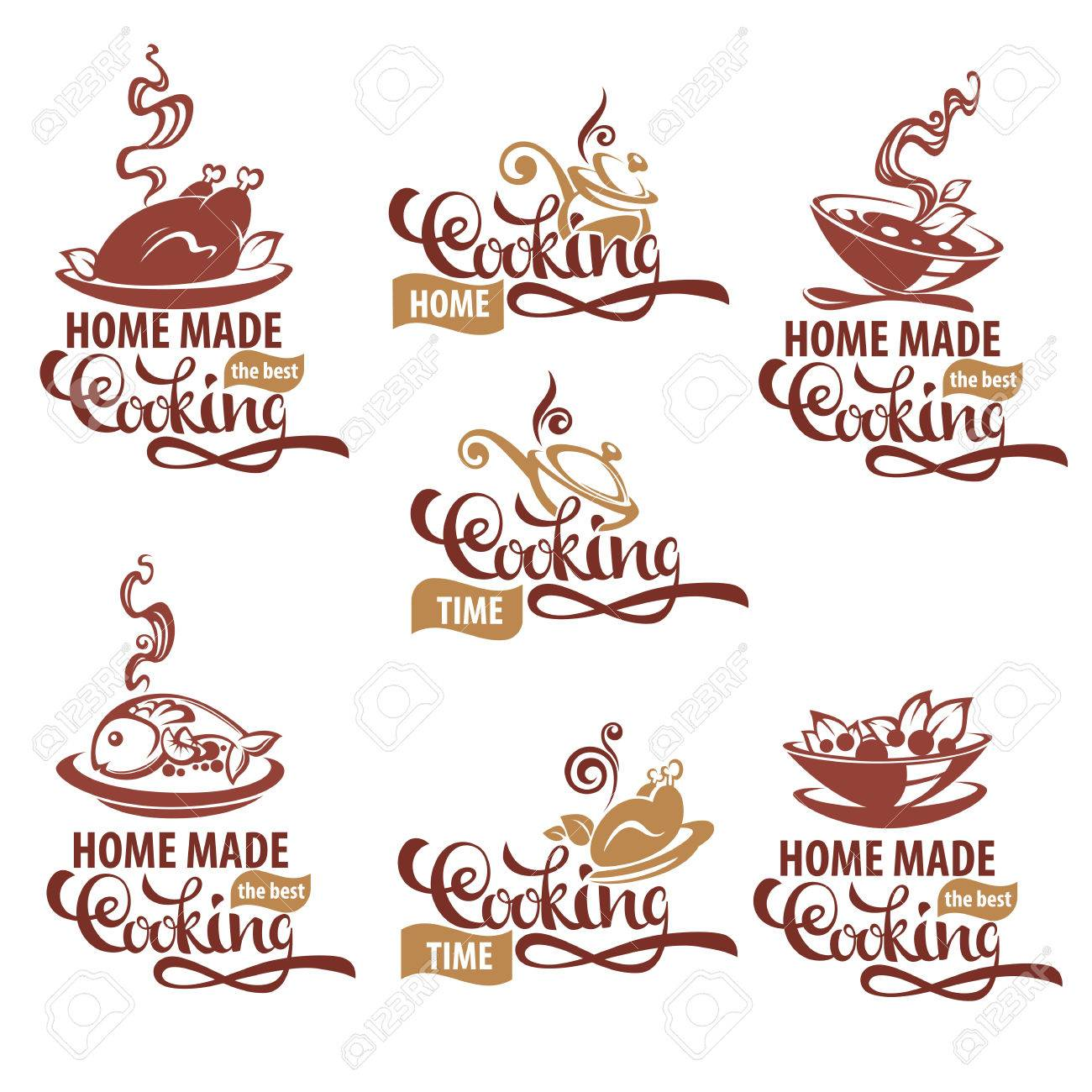 Home Made Cooking, Logo Template Collection, Soup, Salad, Fish ...