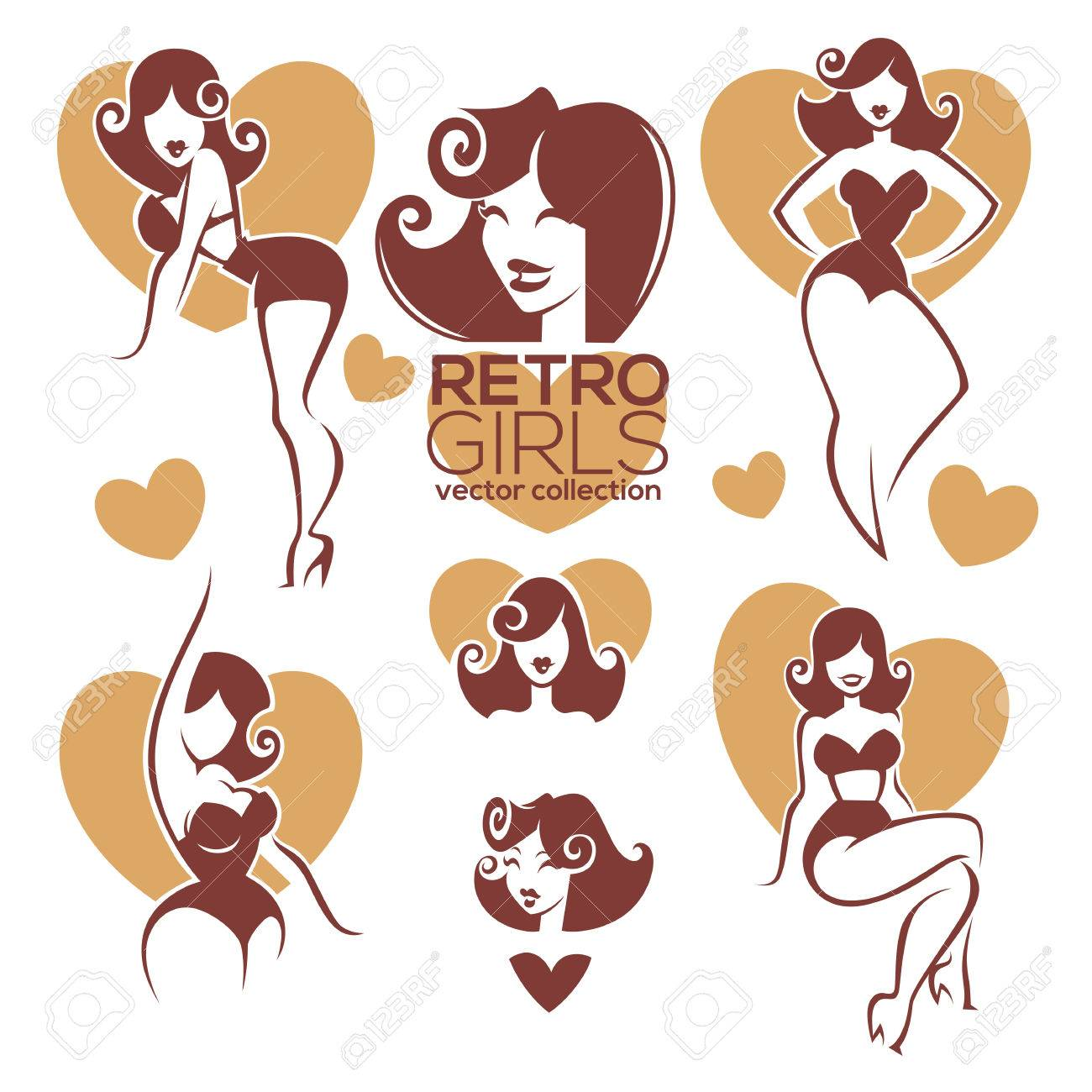 funny catoon pinup girls vector collection royalty free cliparts