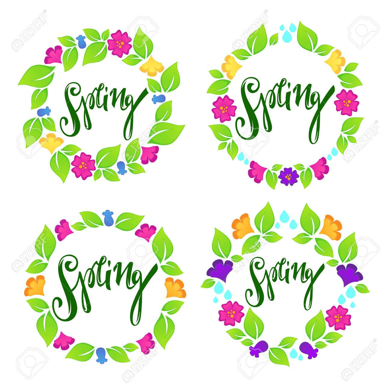 Spring Floral Frames On White Background Royalty Free Cliparts ...