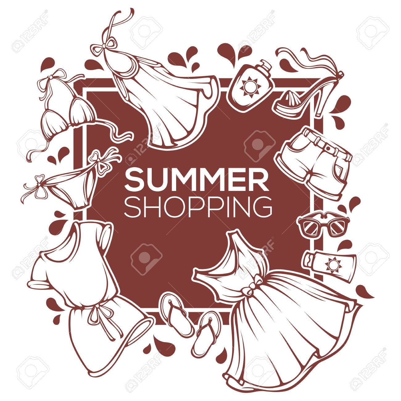 Summer Shopping Vector Fashion Design Template With Clothes Accessories Shoes And Swimsuit Stock