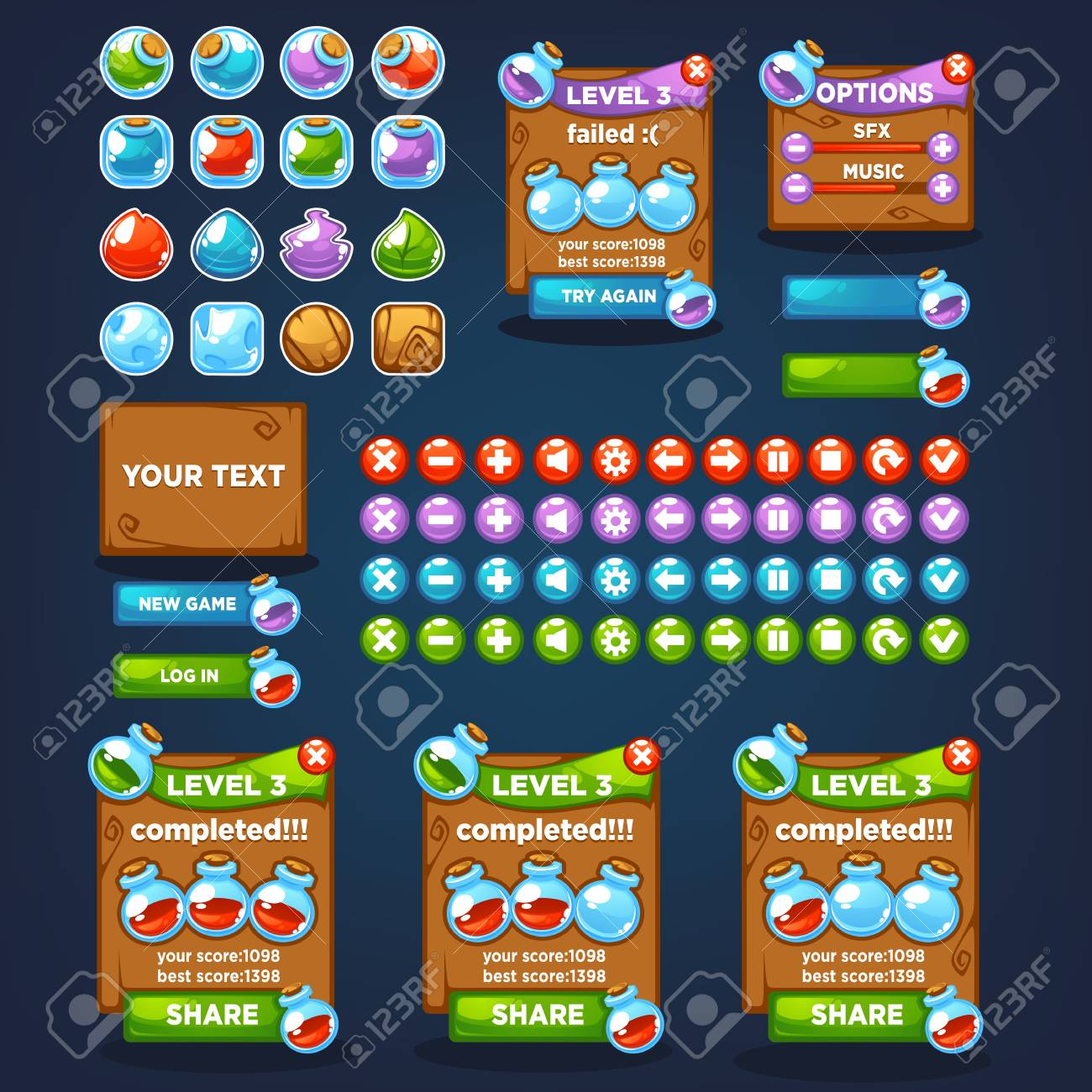 Potion maker, bubble shooter, match 3, large vector cartoon collection,