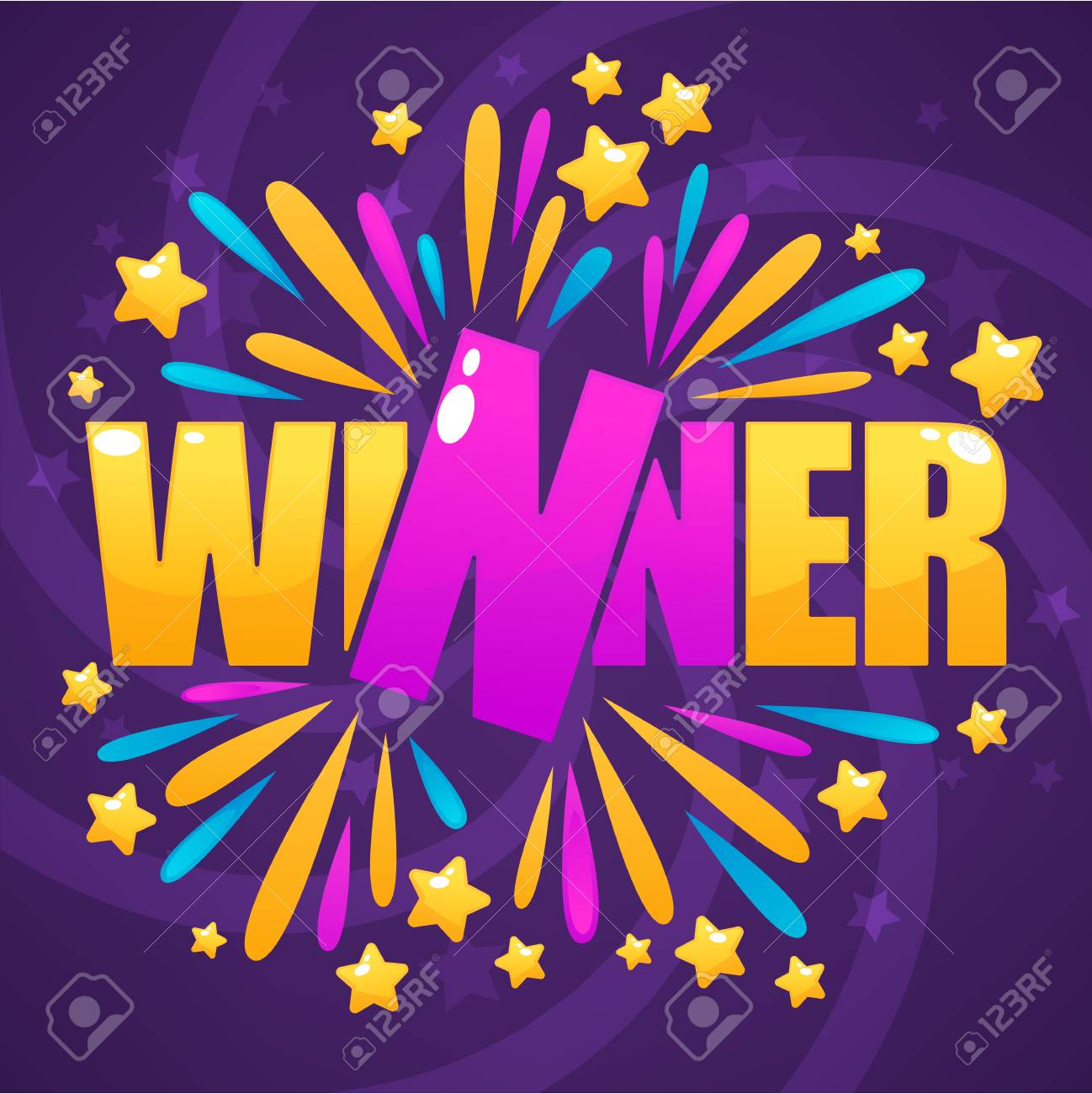 winner congratulation bright and glossy banner with lettering