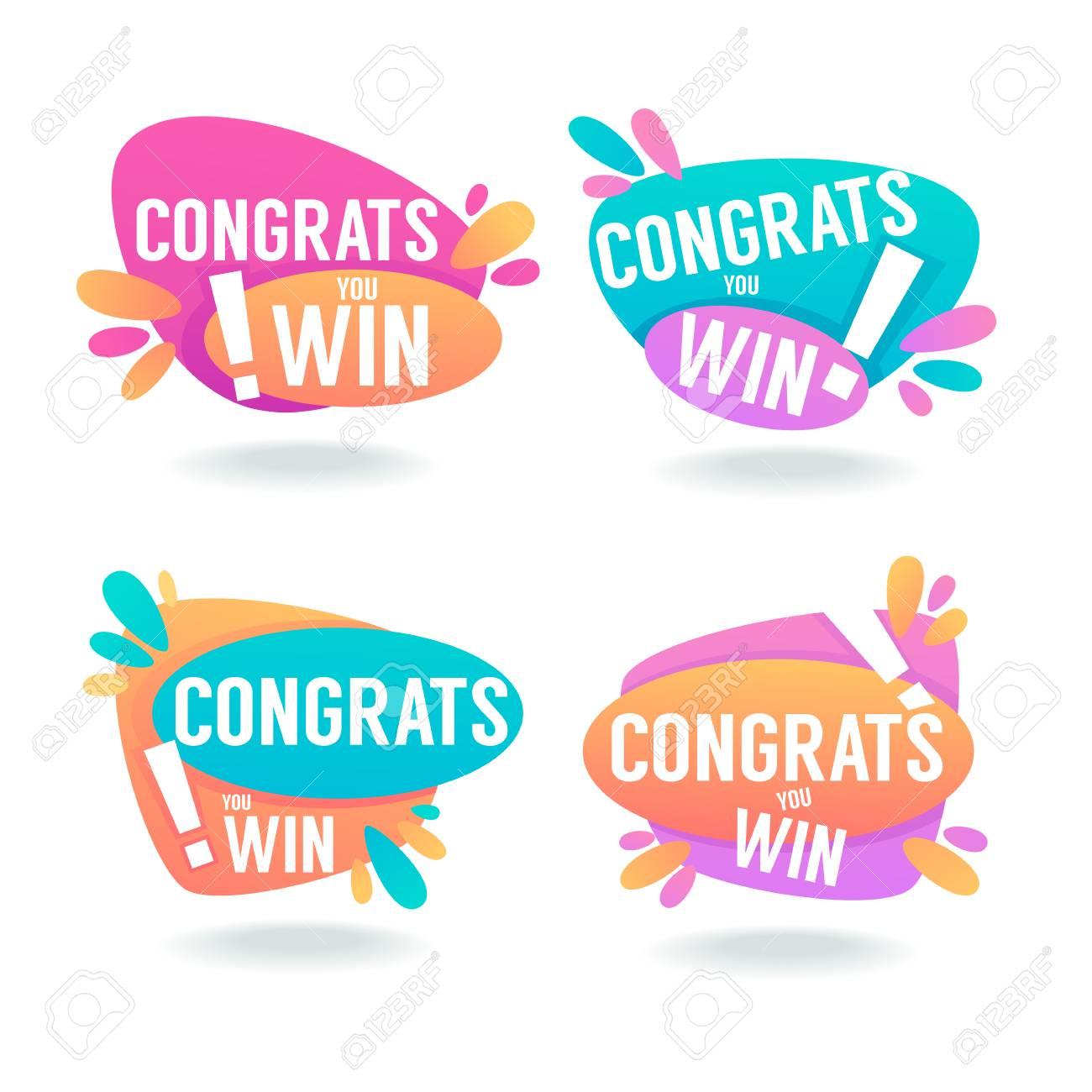 congrats you win vector congratulation banners and bubbles royalty