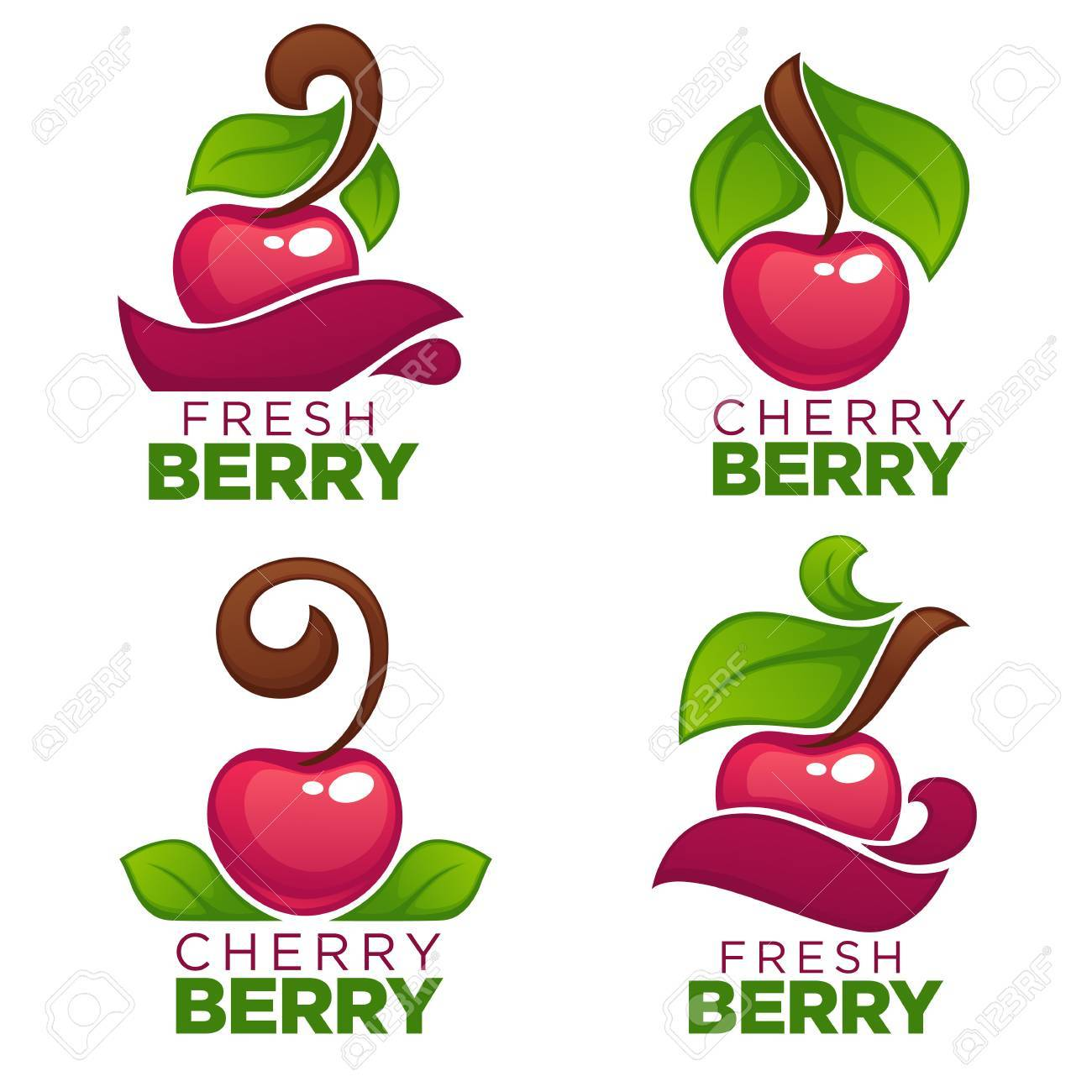 vector collection of juice stickers and cherry berry logo symbols