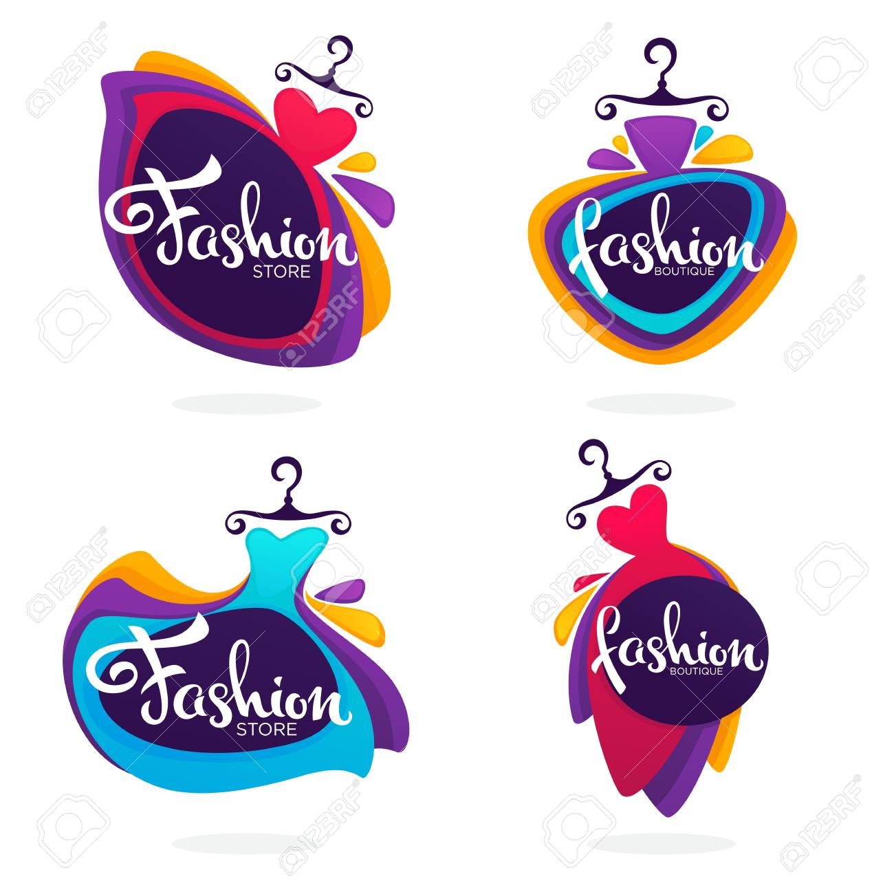 Vector collection of fashion boutique and store logo, label, emblems with bright baloon dresses and lettering composition - 92919936