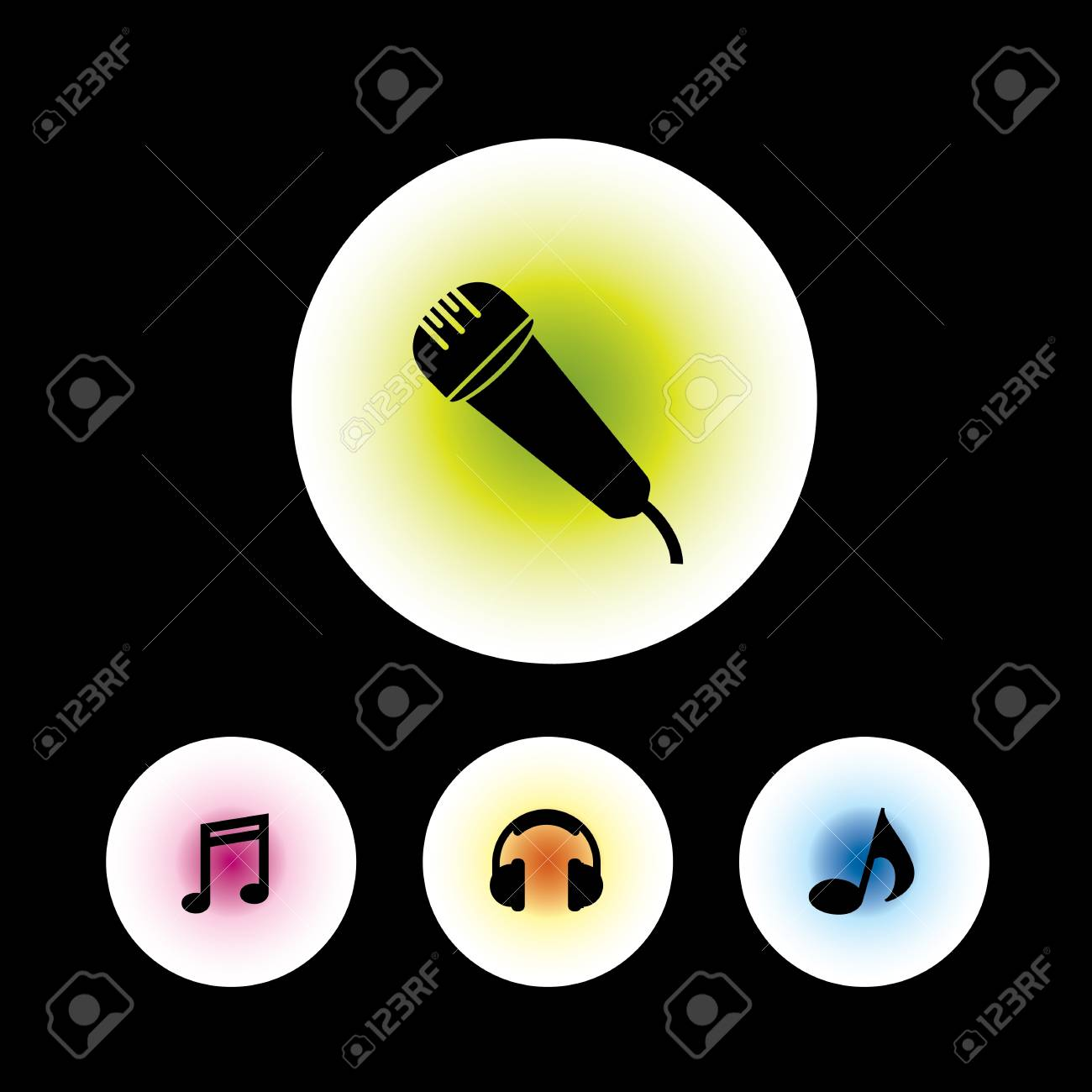 icon set in black background for use Stock Vector - 20780305