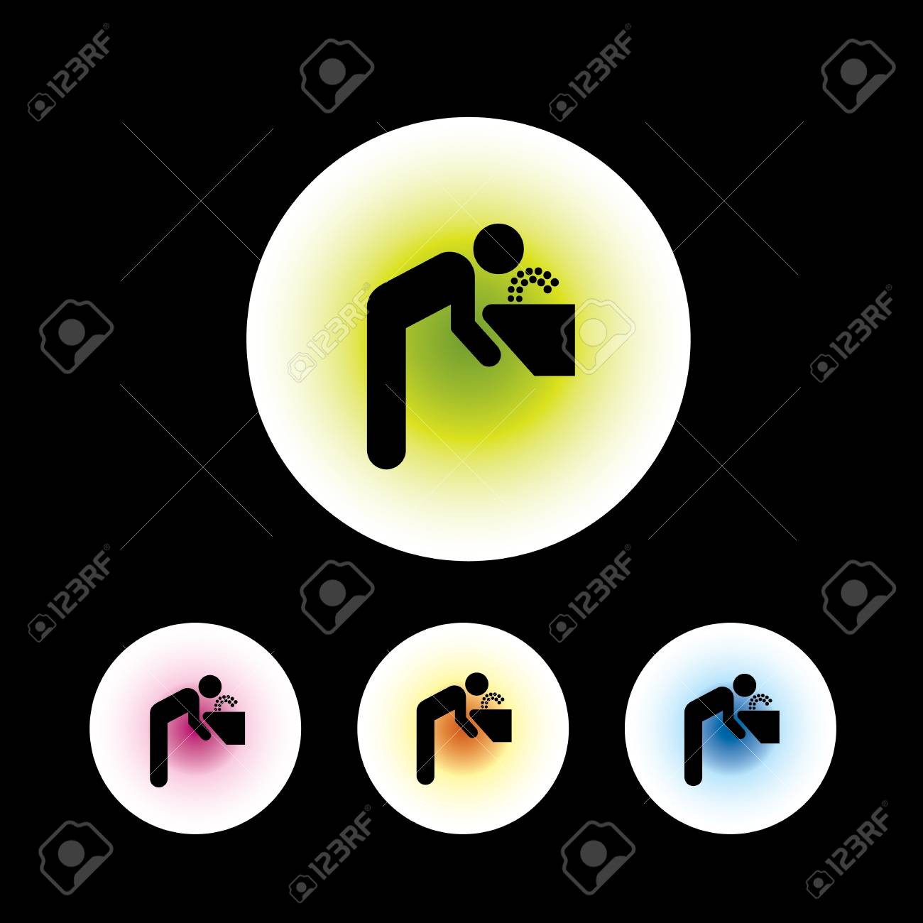 icon set in black background for use Stock Vector - 20864128