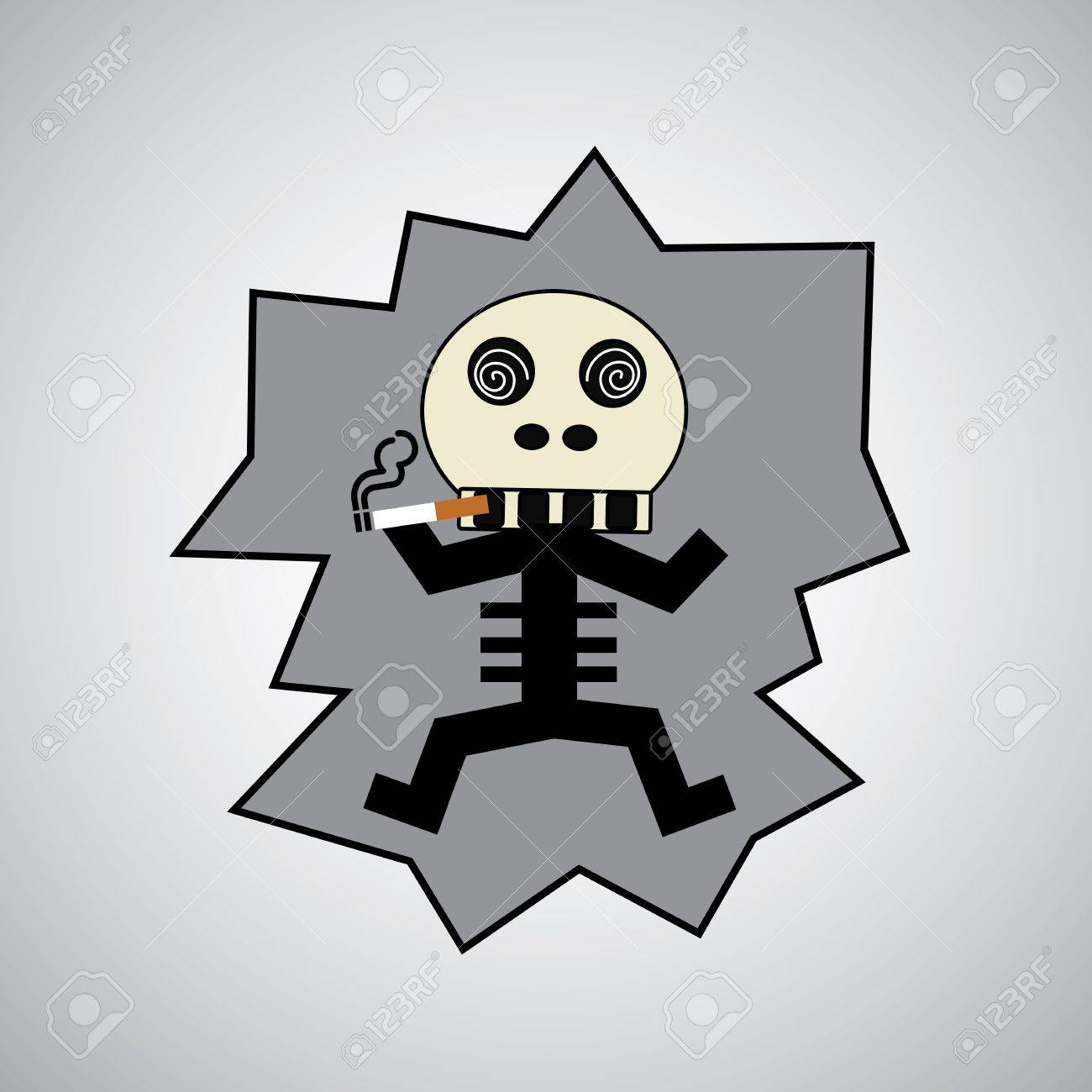 Skull with a cigarette on gray background Stock Vector - 21315276