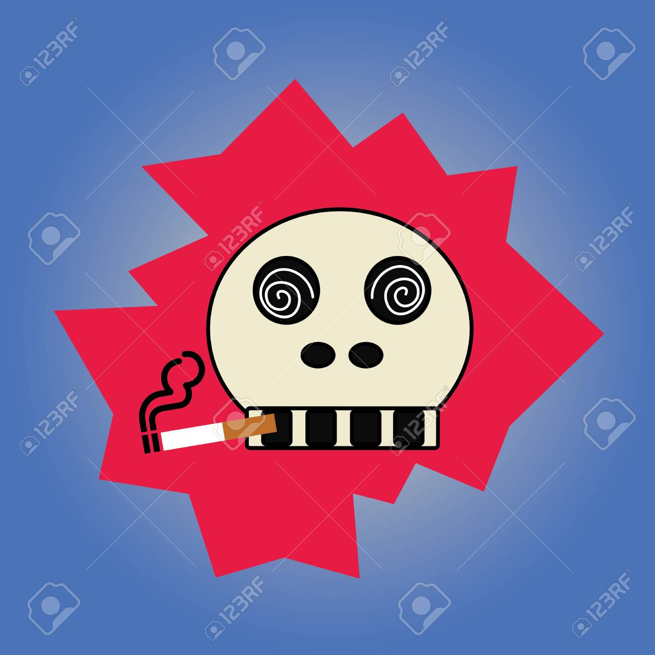 Skull with a cigarette on gray background Stock Vector - 21315275
