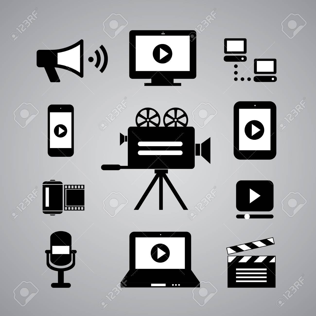 media symbol on gray background Stock Vector - 21569115