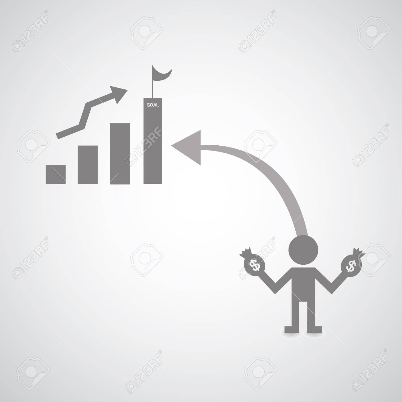 businessman symbol on gray background Stock Vector - 21881112