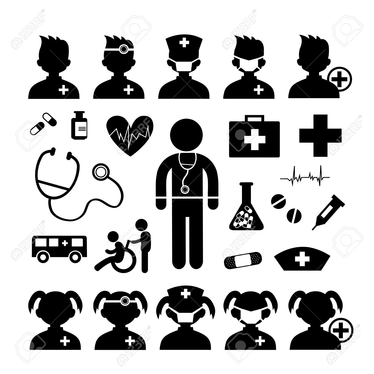 Doctor icon and hospital on white background - 29036260