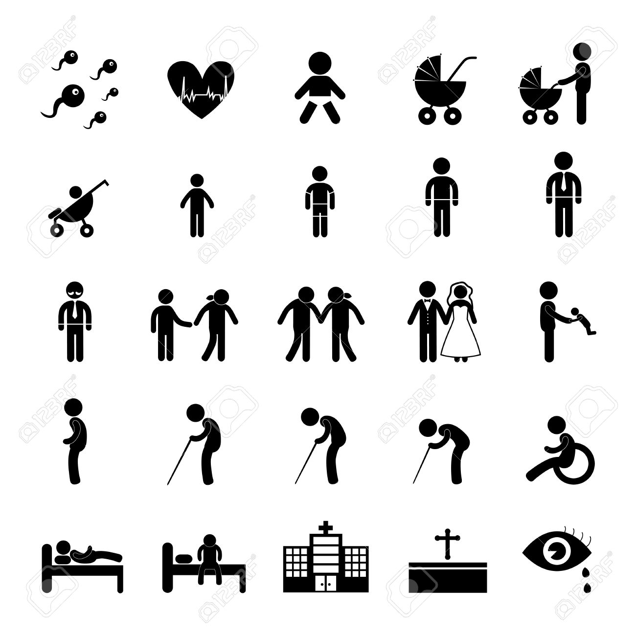 Vector Basic Icon Set For Human Life Royalty Free Cliparts, Vectors ...