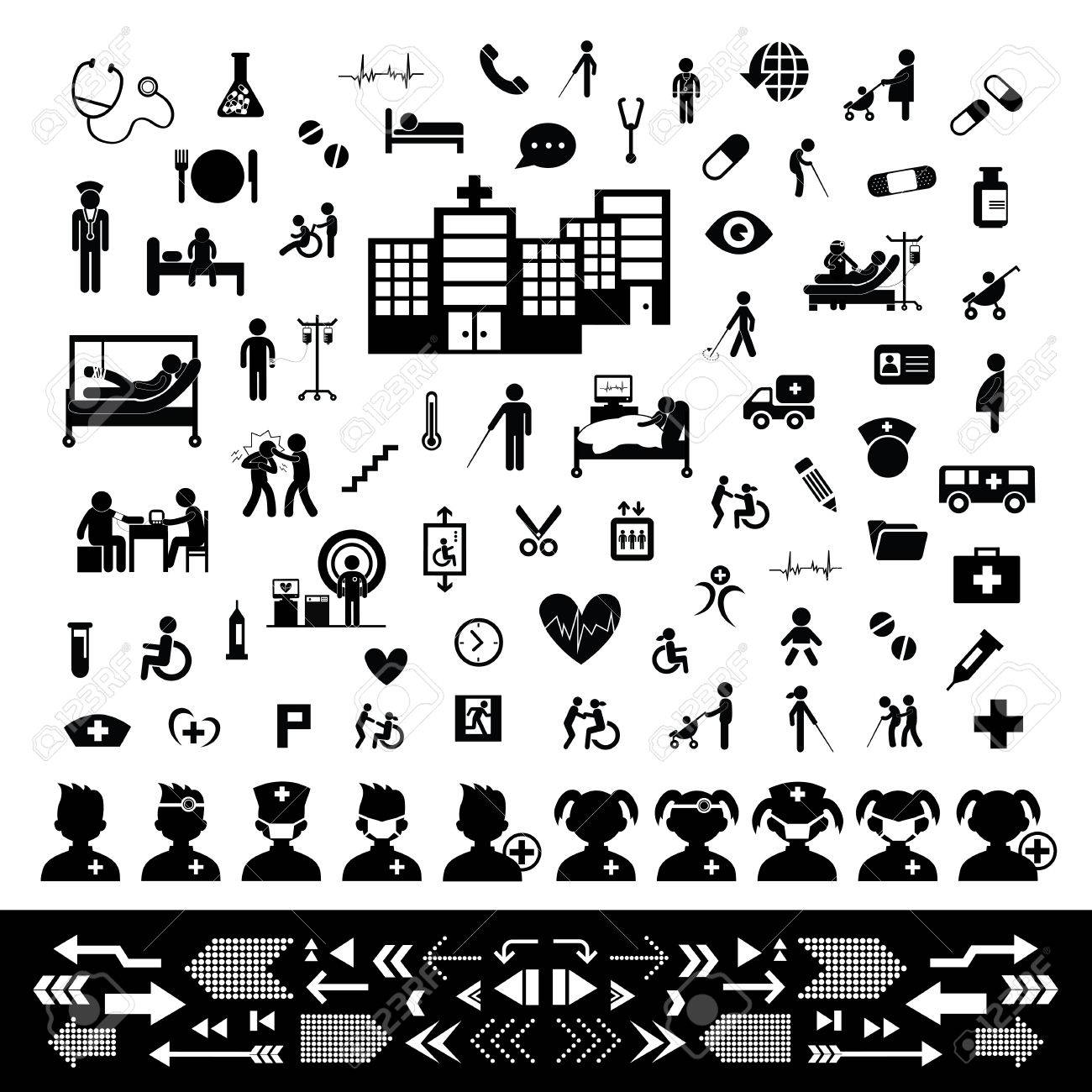 doctor and hospital icon set - 35759492