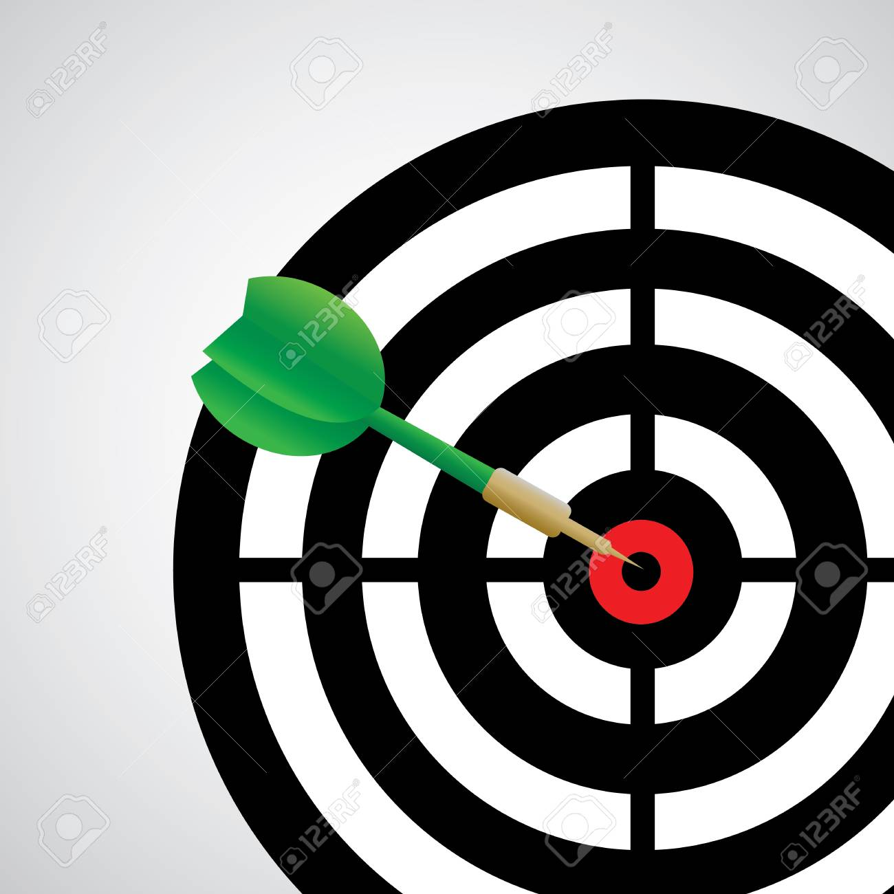 Darts Game With A Dart In The Target Center Royalty Free Cliparts