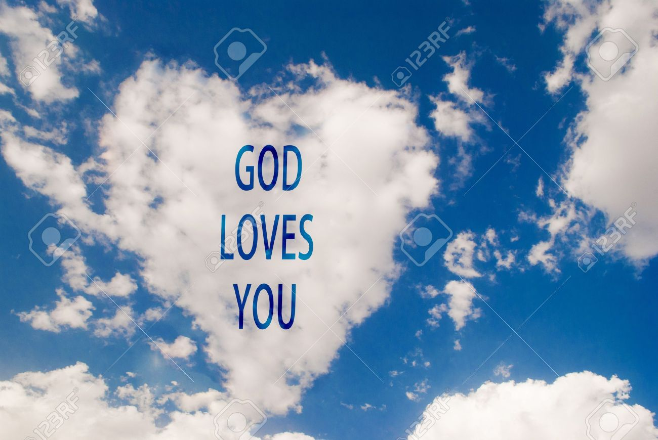 Love symbol shaped cloud with god loves you text stock photo love symbol shaped cloud with god loves you text stock photo 19704524 biocorpaavc Gallery