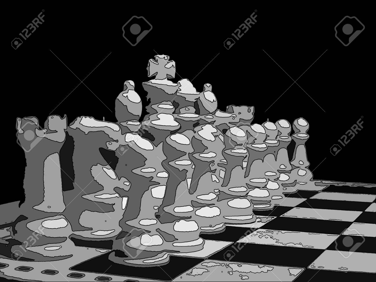 Chess Board And Coins Illustration Cutout Stock Photo Picture And