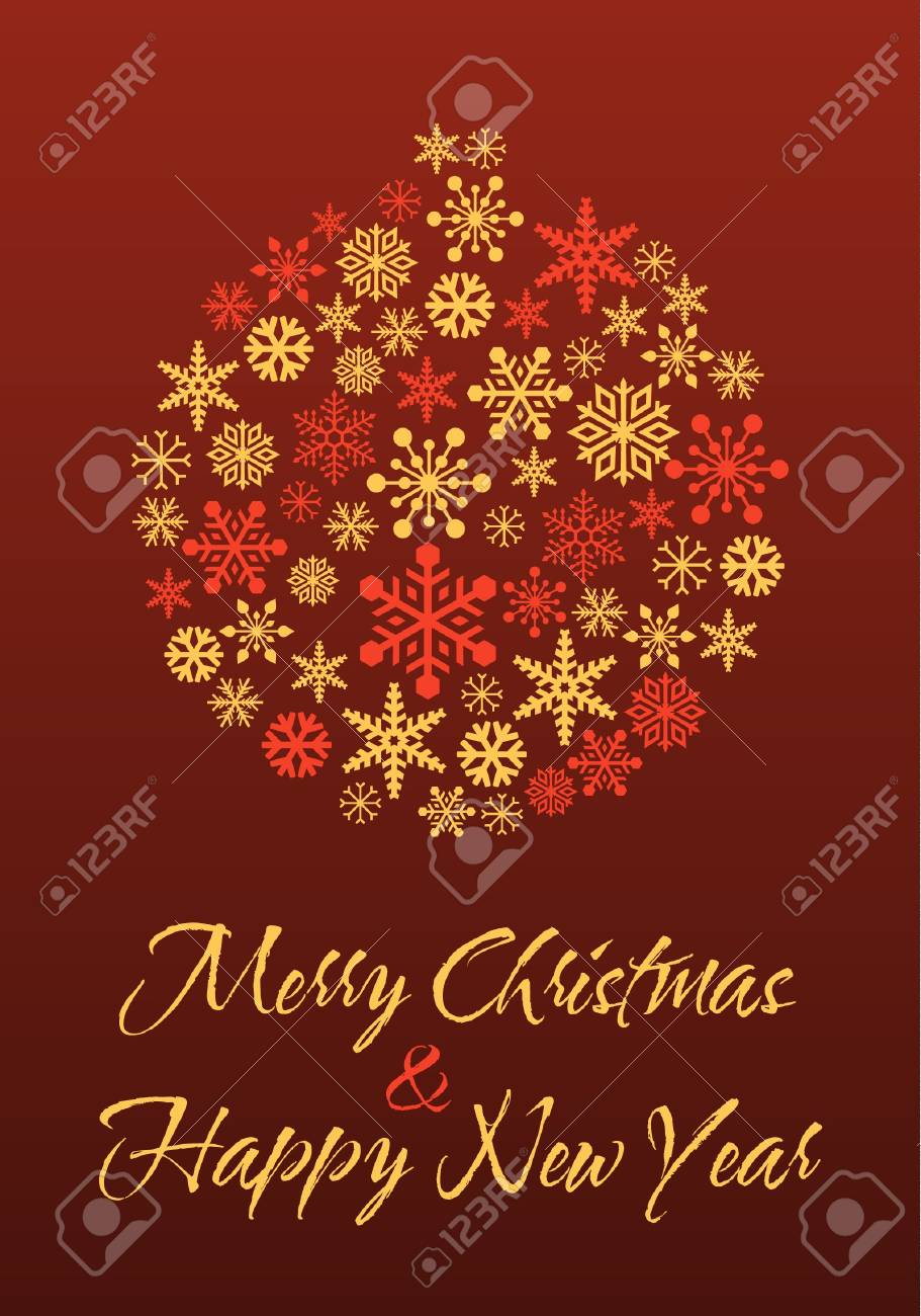 Merry Christmas and Happy New Year Card Stock Vector - 16777377