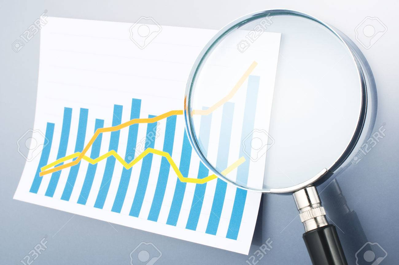 researching and analyzing data magnifying glass graph and researching and analyzing data magnifying glass graph and magnifying glass on gray background