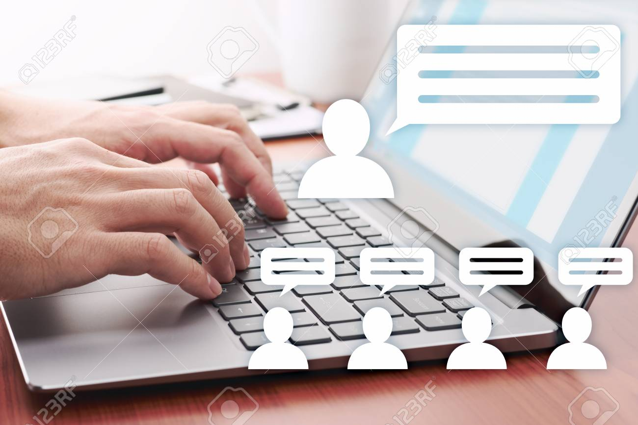 Internet communication concept. Man posting messages on social media.Laptop and person icons. - 124806899