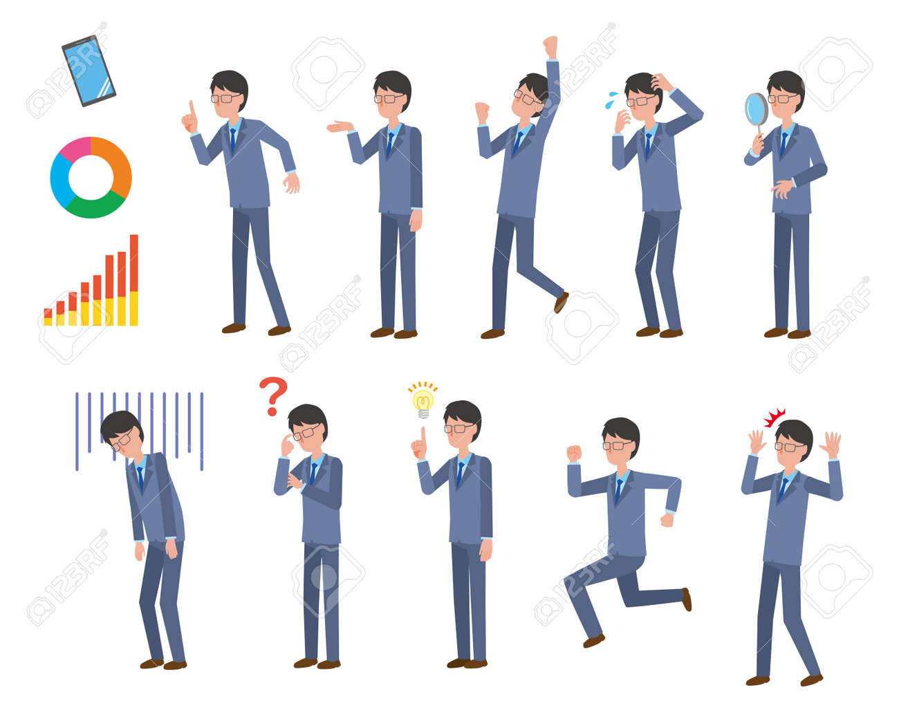 Various pose illustration sets for male office workers in suits - 163338816