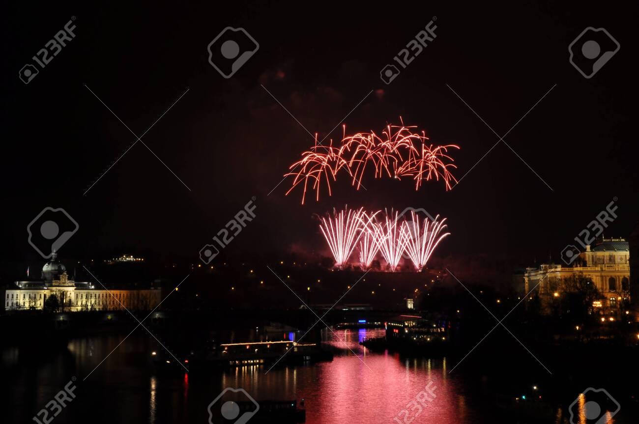 Great New Year Firework in Prag 2014 Stock Photo - 24825396