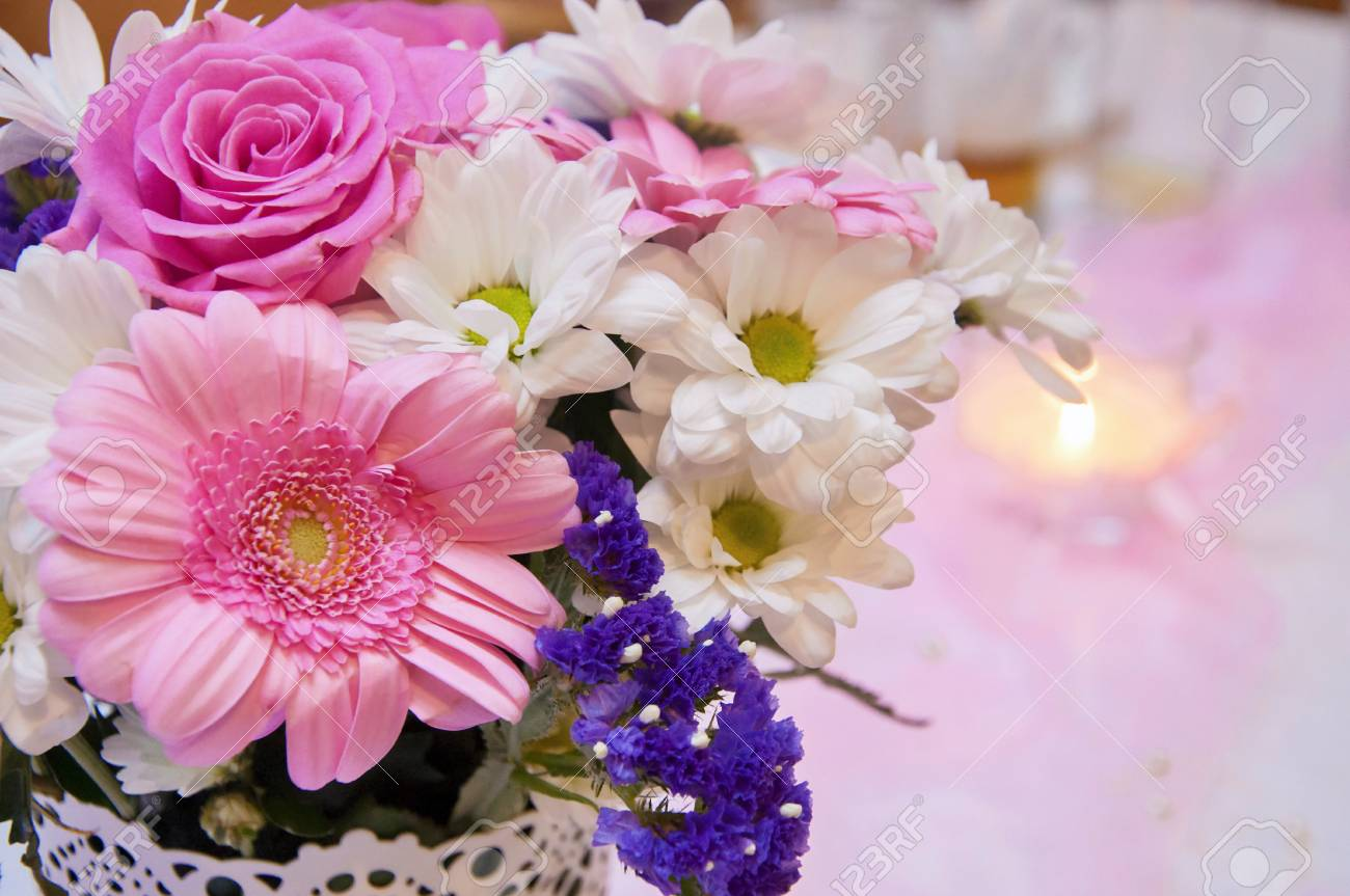 Beautiful wedding arrangement wedding decoration in pink color beautiful wedding arrangement wedding decoration in pink color beautiful flowers decor and candle junglespirit Image collections