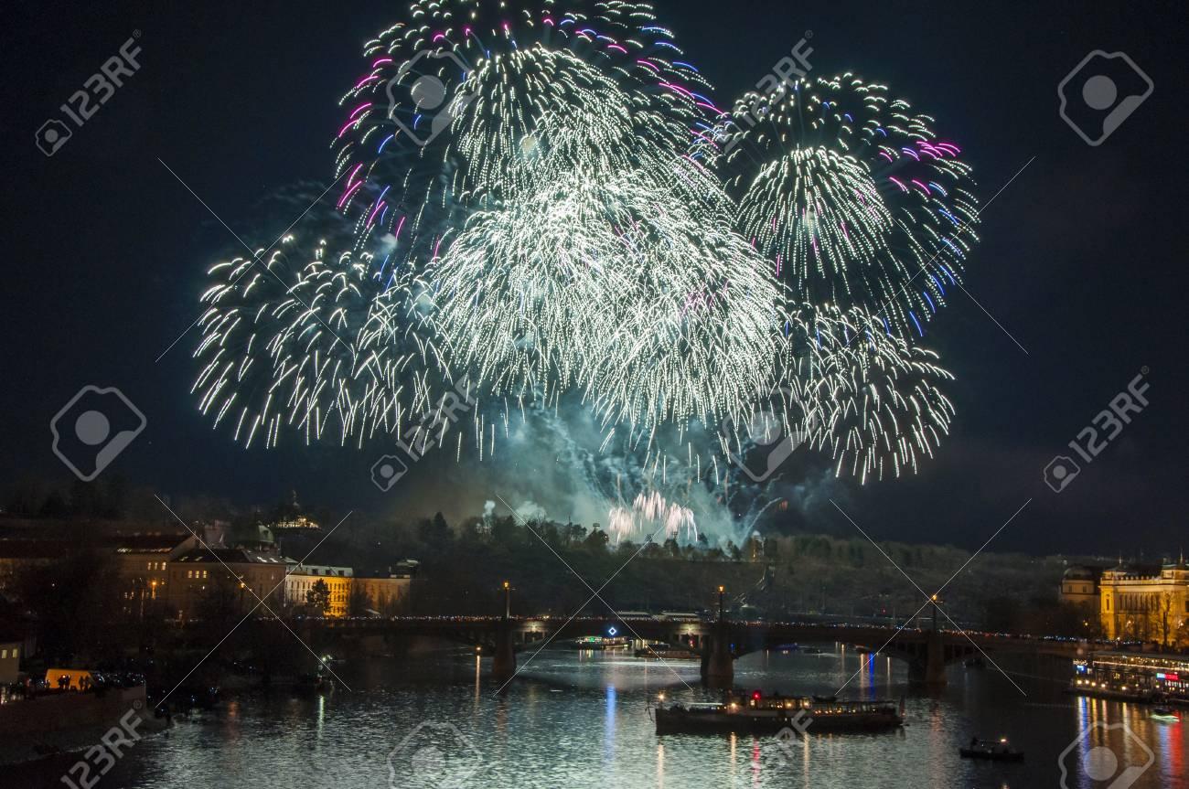 New Year Eve Firework In Prague, Czech Republic. Big Firework ...
