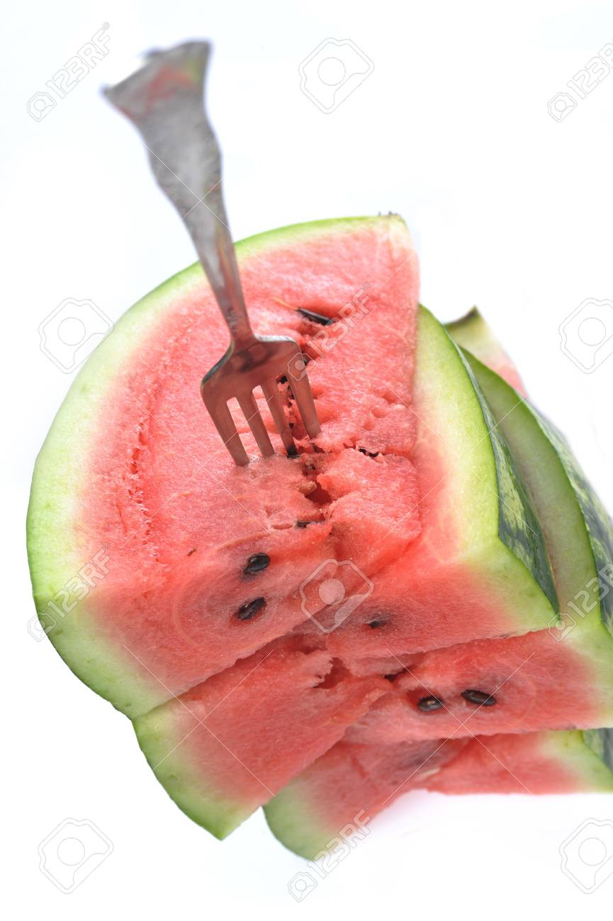 fresh sliced watermelon with fork Stock Photo - 5704300