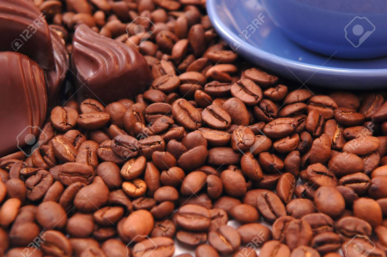 coffee beans and black chocolate Stock Photo - 5704534